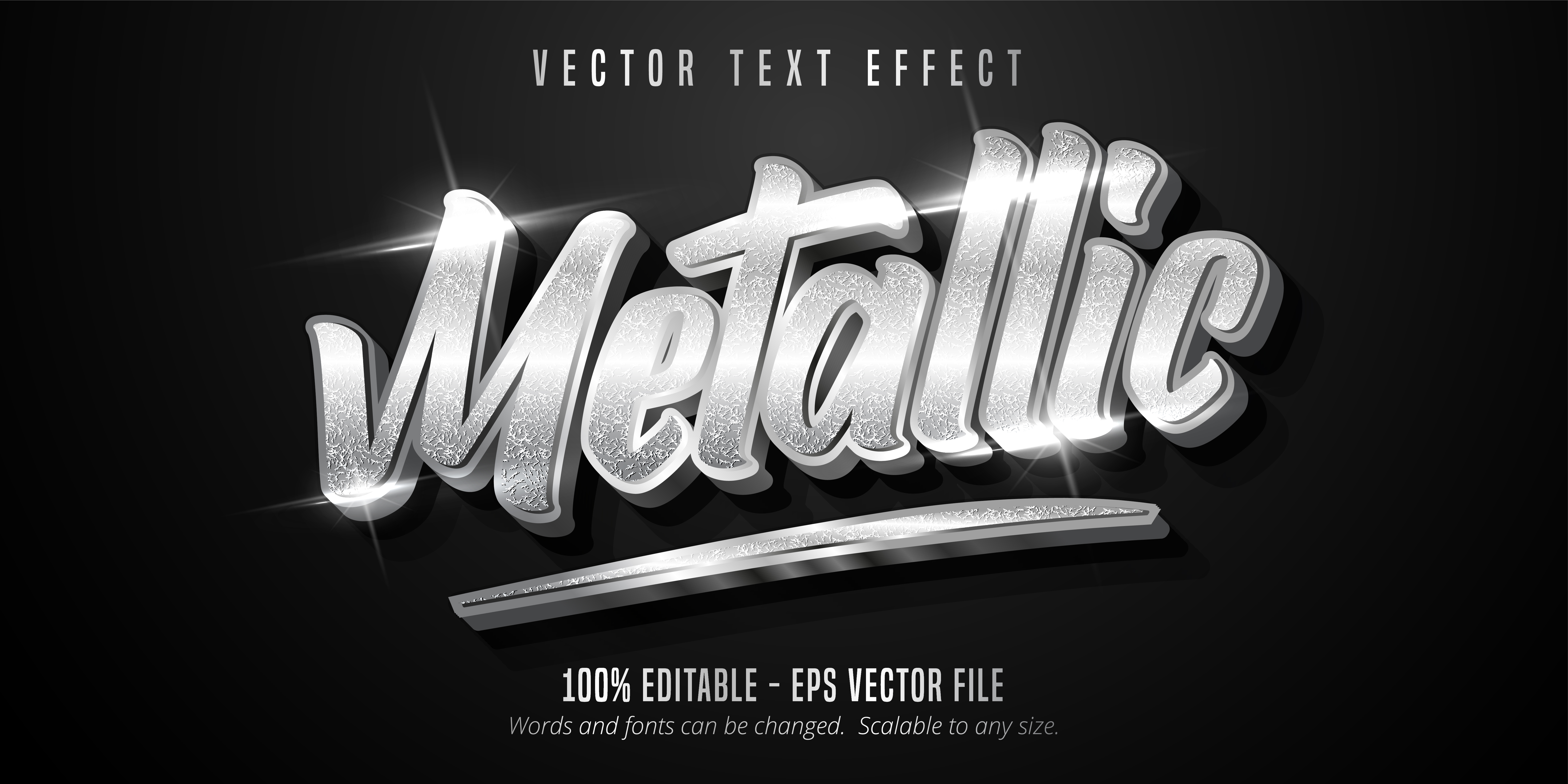 Metallic Text, Shiny Silver Style Text Effect vector