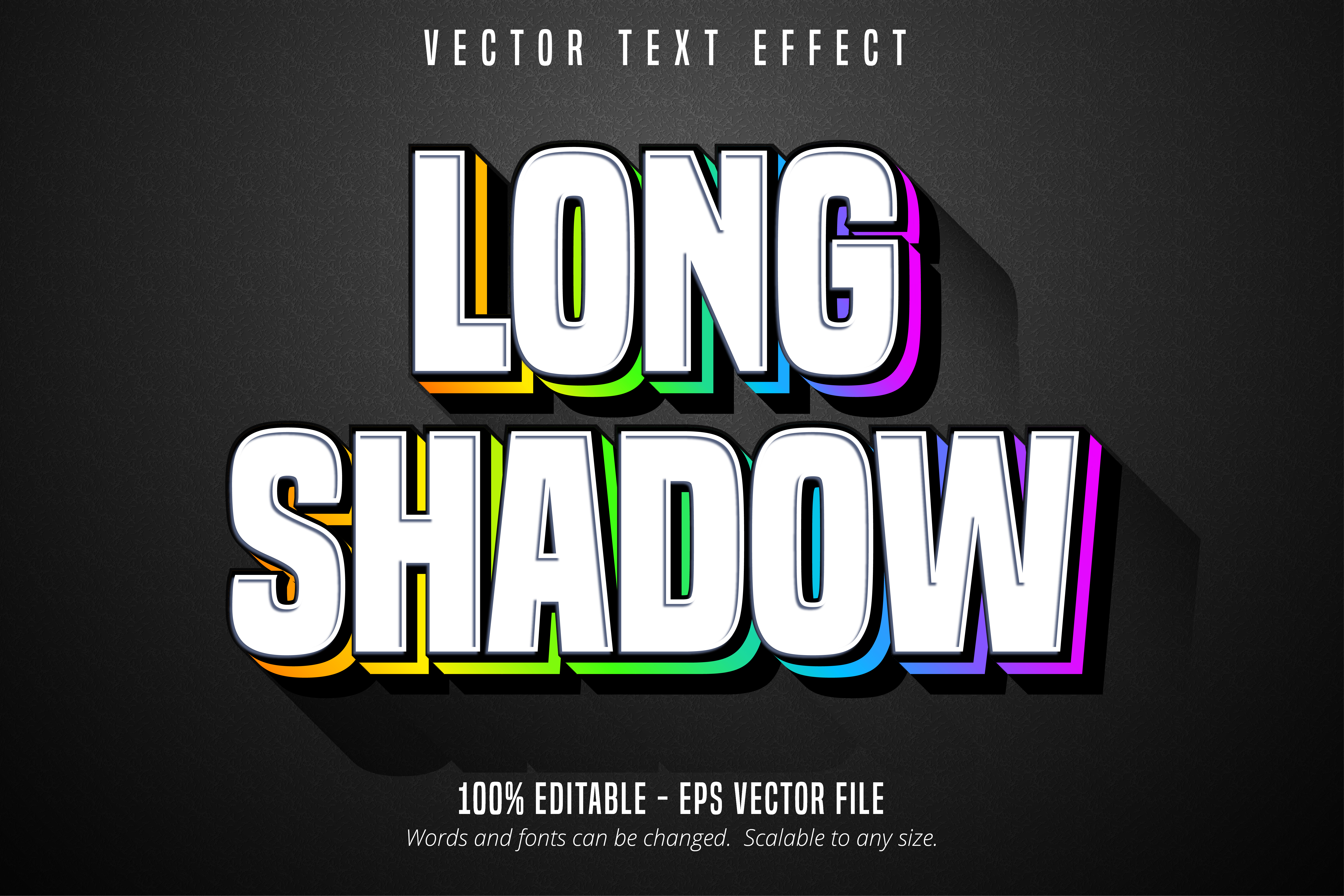 Long Shadow Text, Multicolor Style Text Effect
