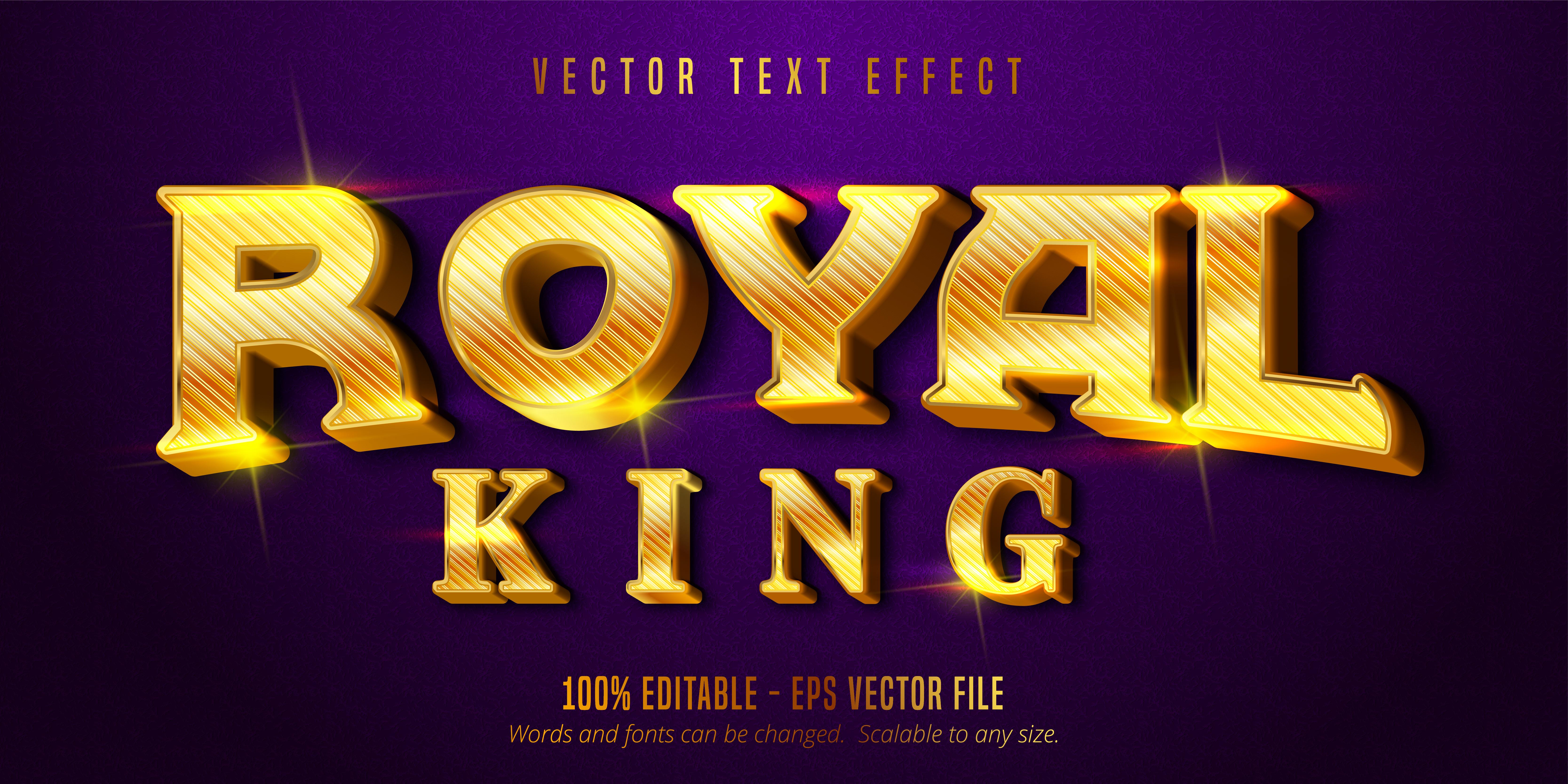texto del rey real, efecto de texto de estilo dorado brillante