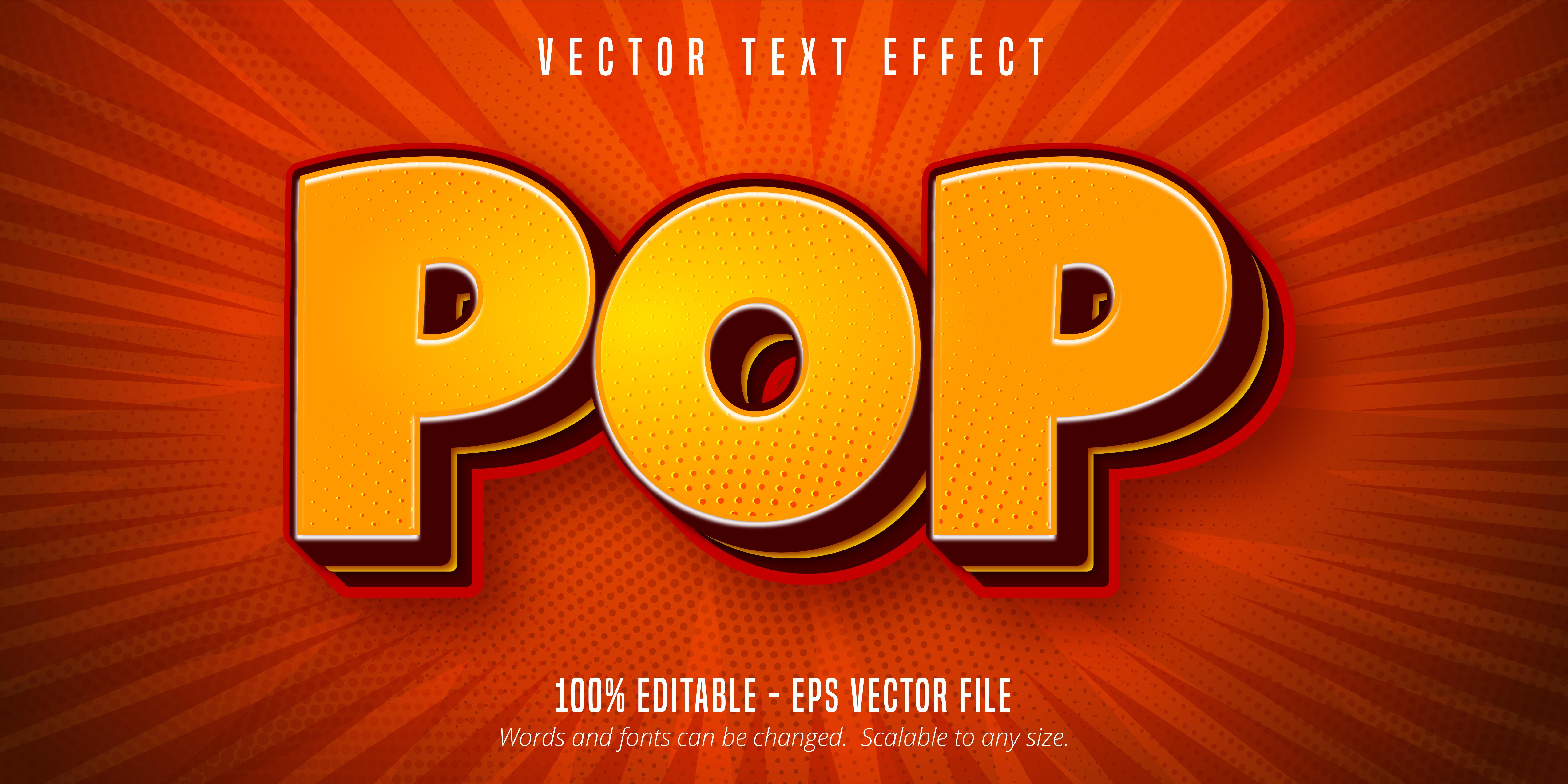 texte pop jaune, effet de texte de style pop art