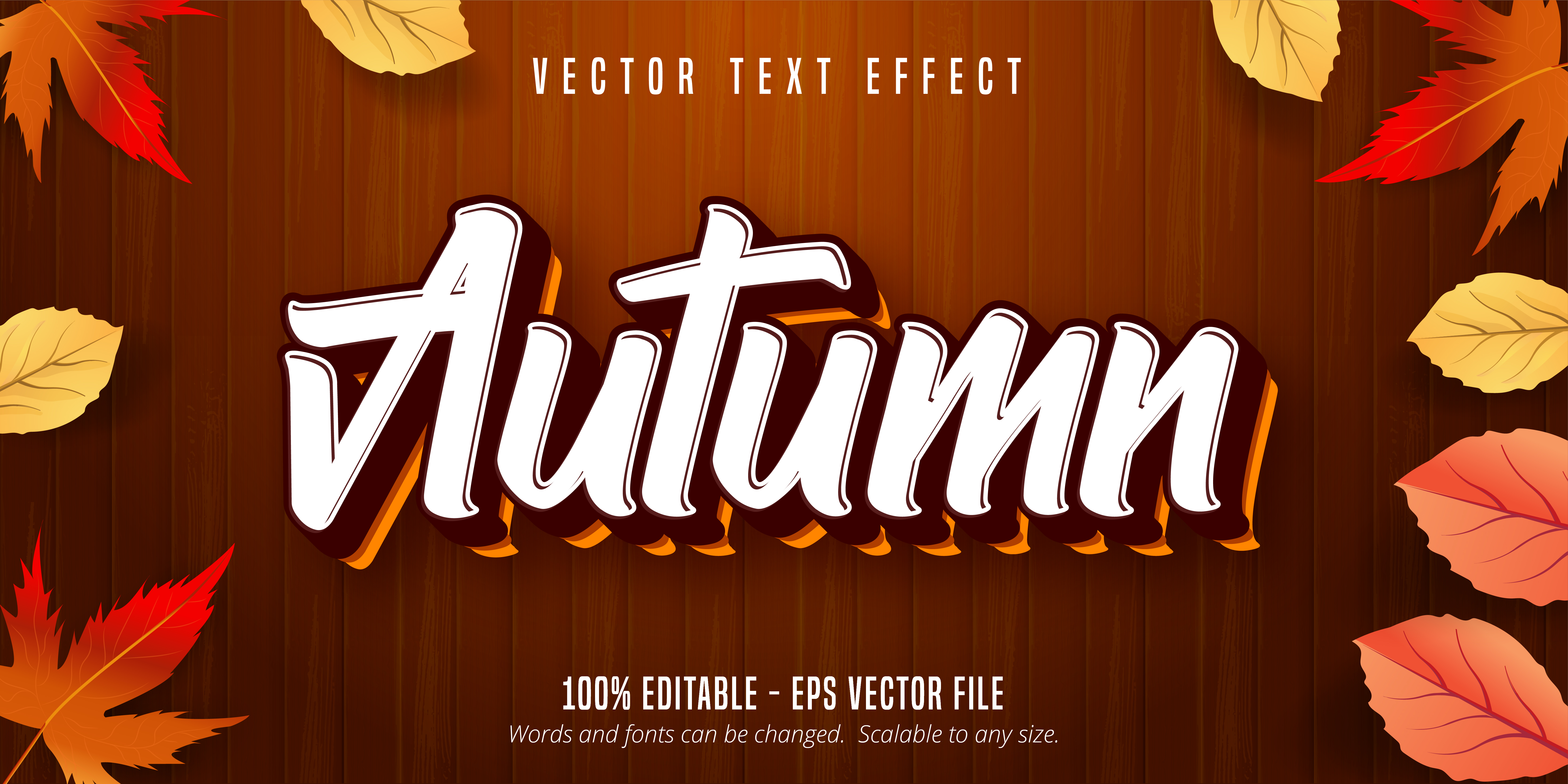 Autumn Style Text Effect on Wooden Texture
