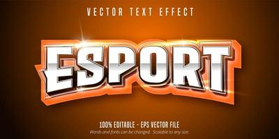 Orange E-Sport Text, Sport Style Text Effect vector