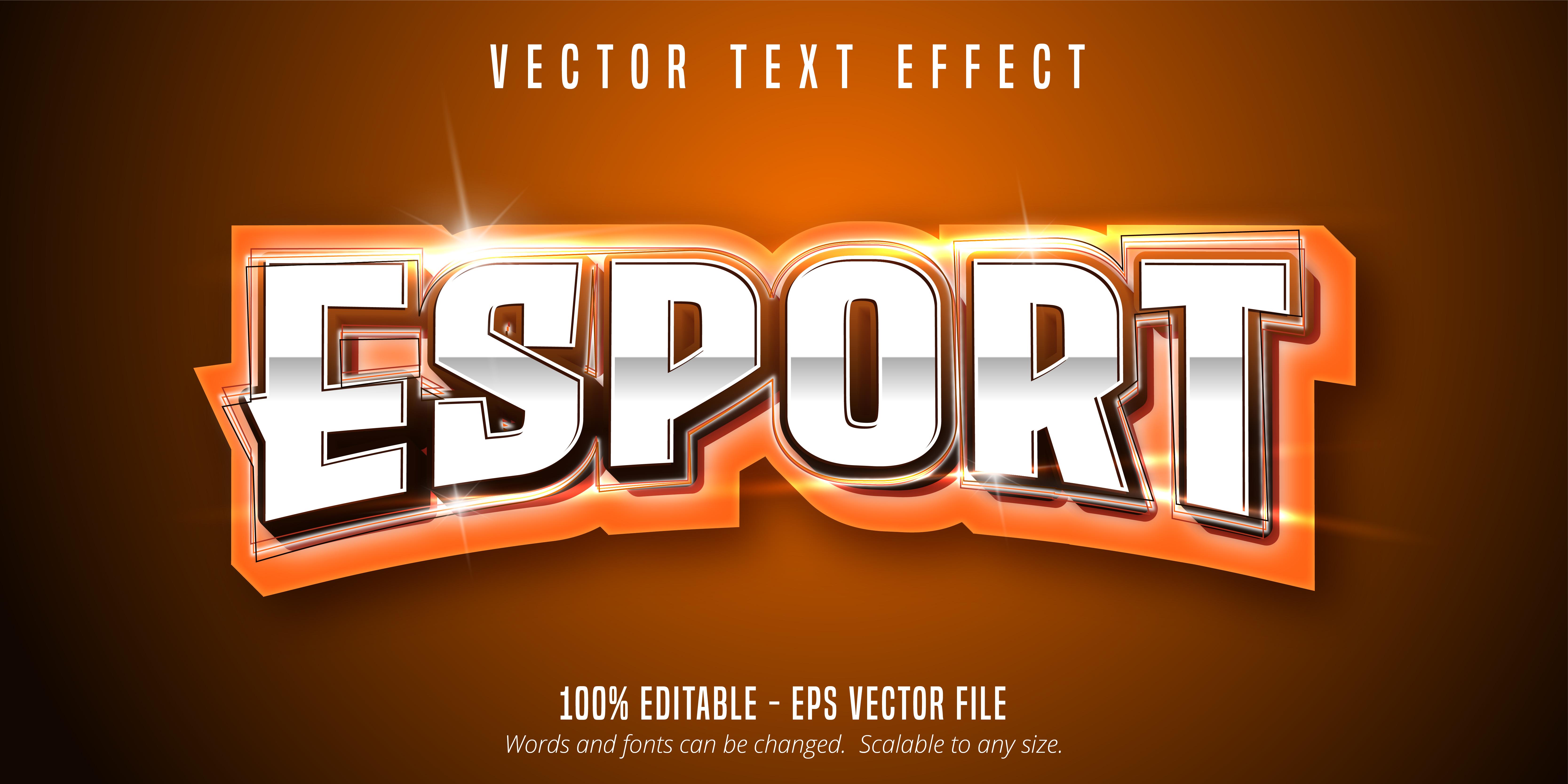 texto de e-sport naranja, efecto de texto de estilo deportivo