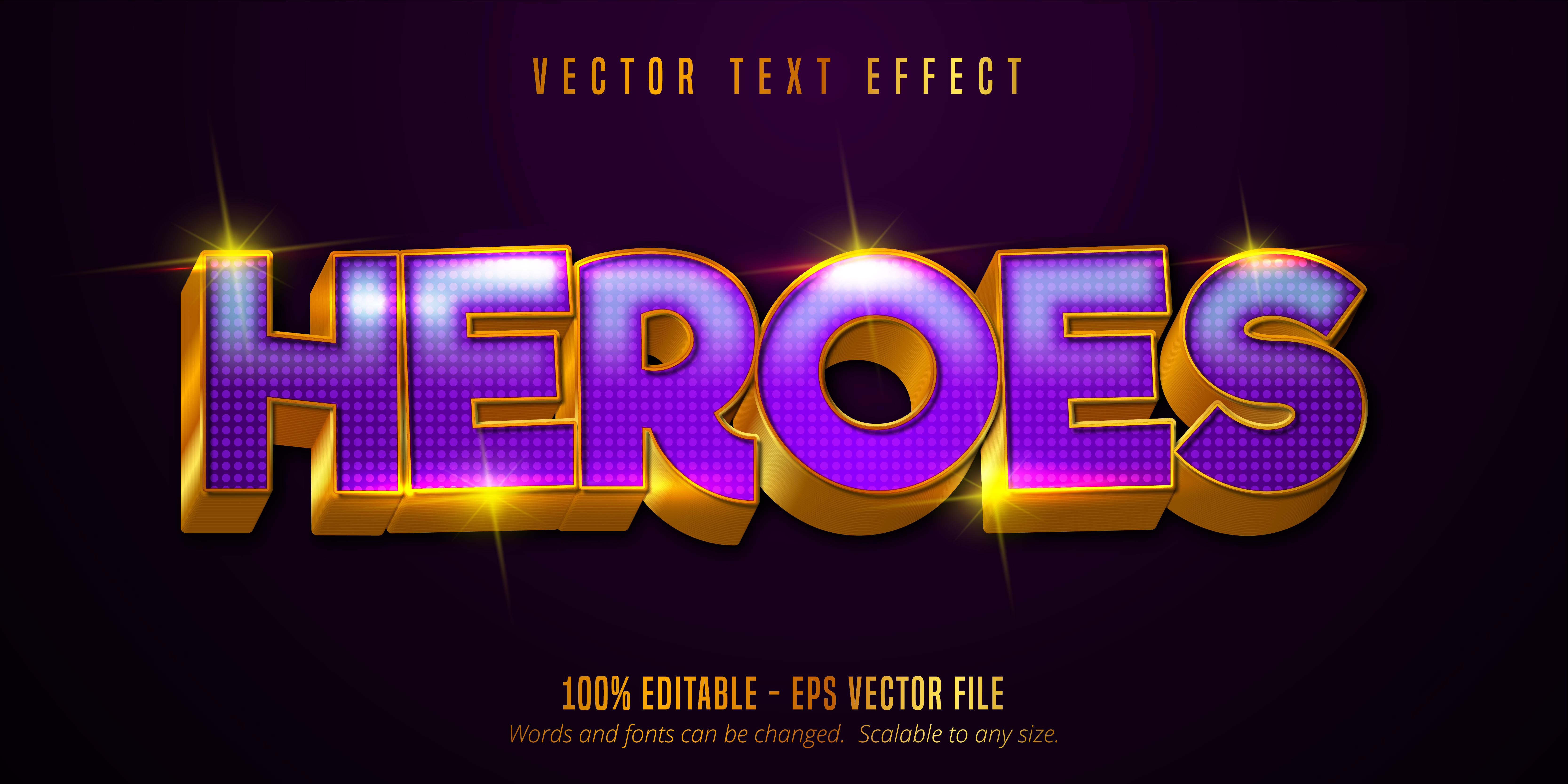 texto de héroes, dorado brillante, efecto de texto de estilo púrpura