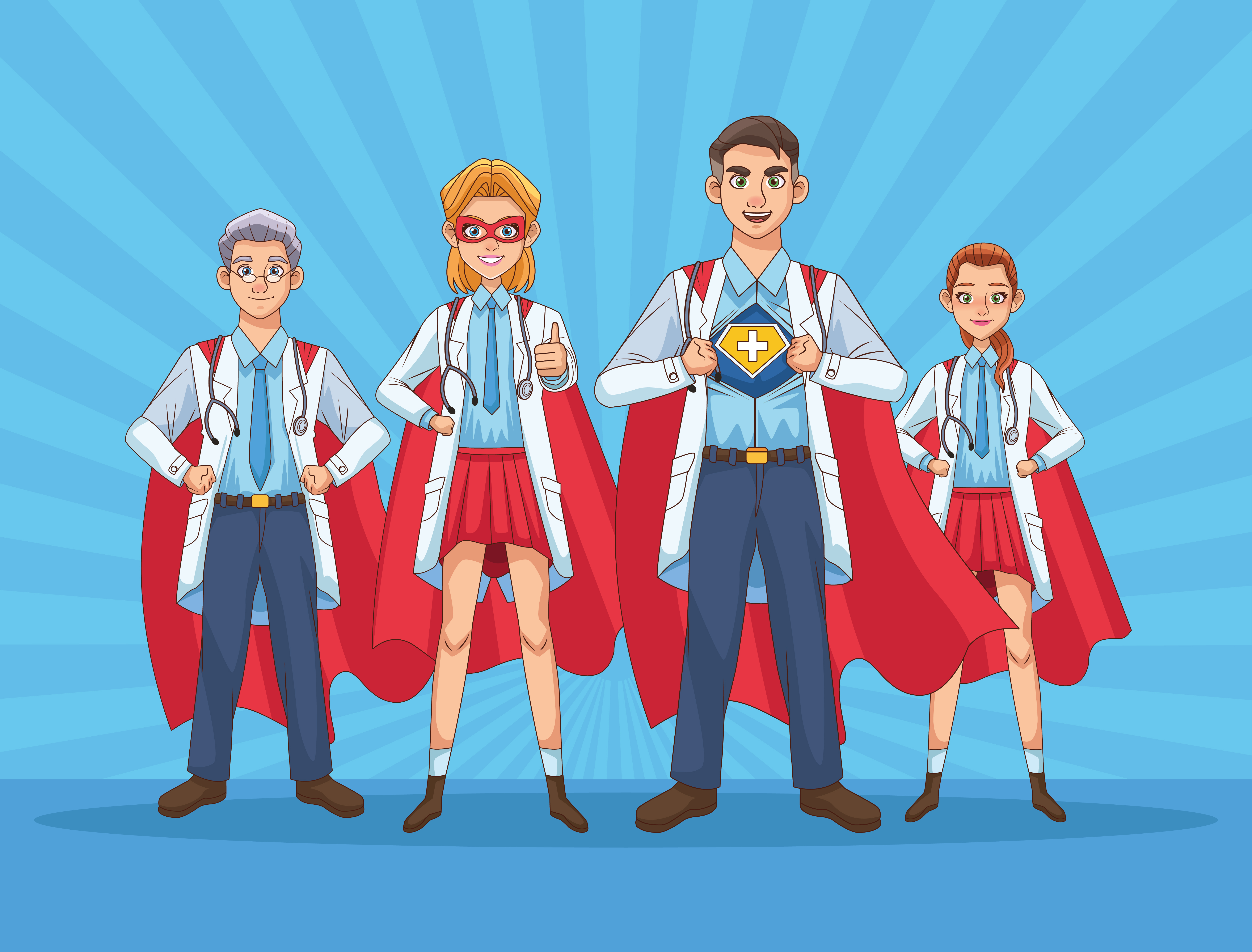Super doctors staff vs COVID19 vector