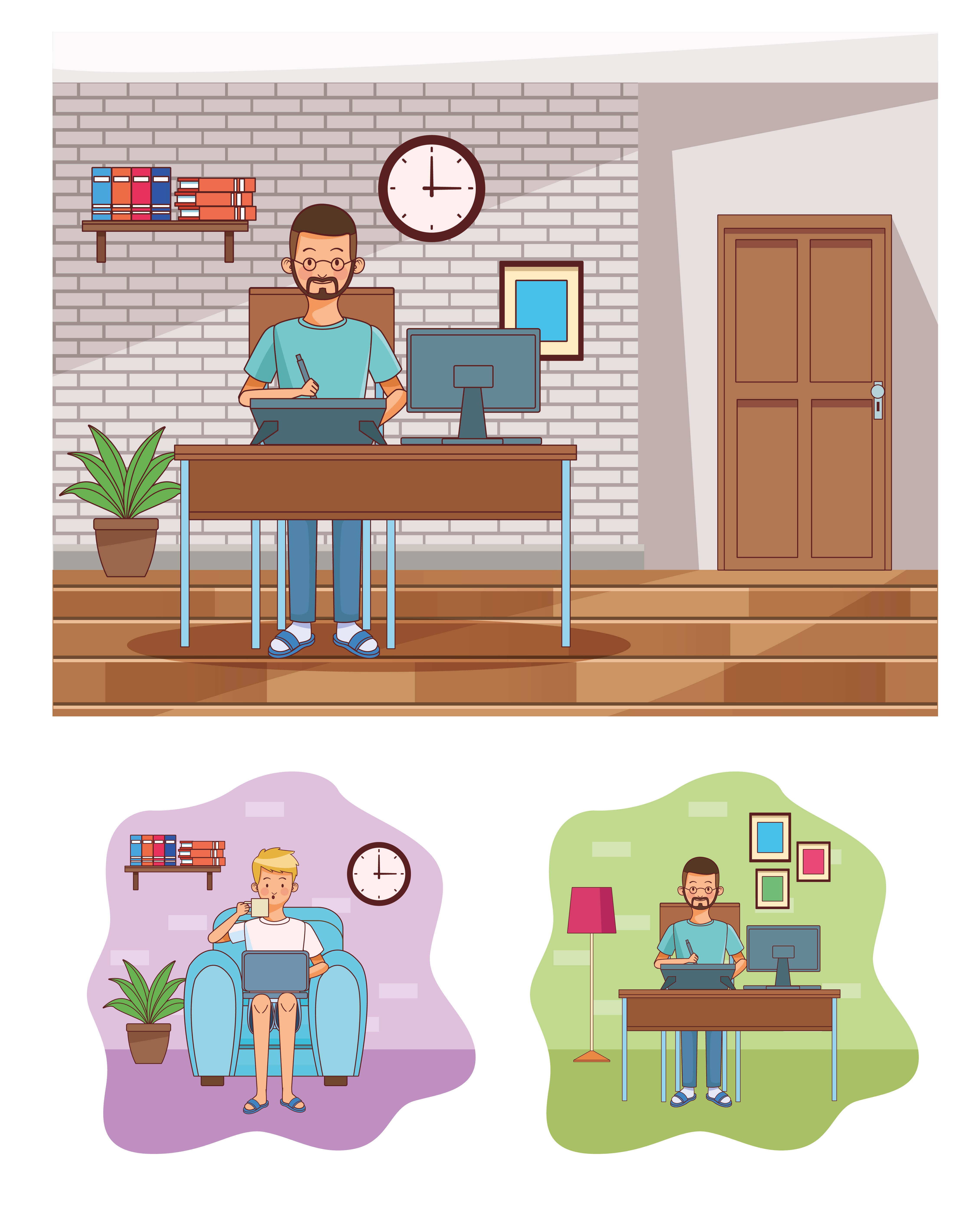 Work at home men characters vector