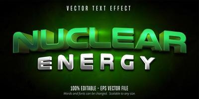 texto de energía nuclear, efecto de texto de estilo de juego vector