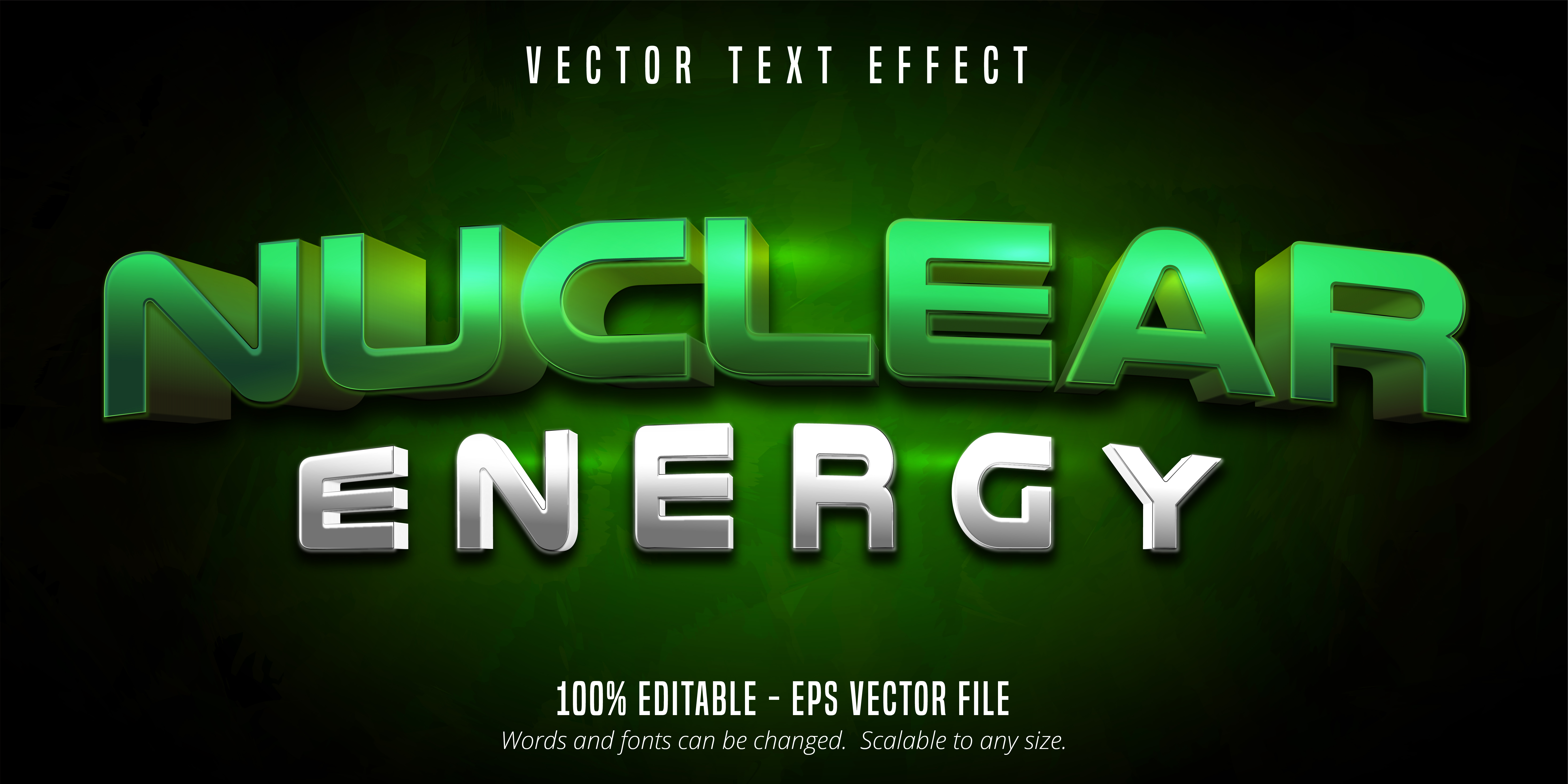 Nuclear Energy Text, Game Style Text Effect vector