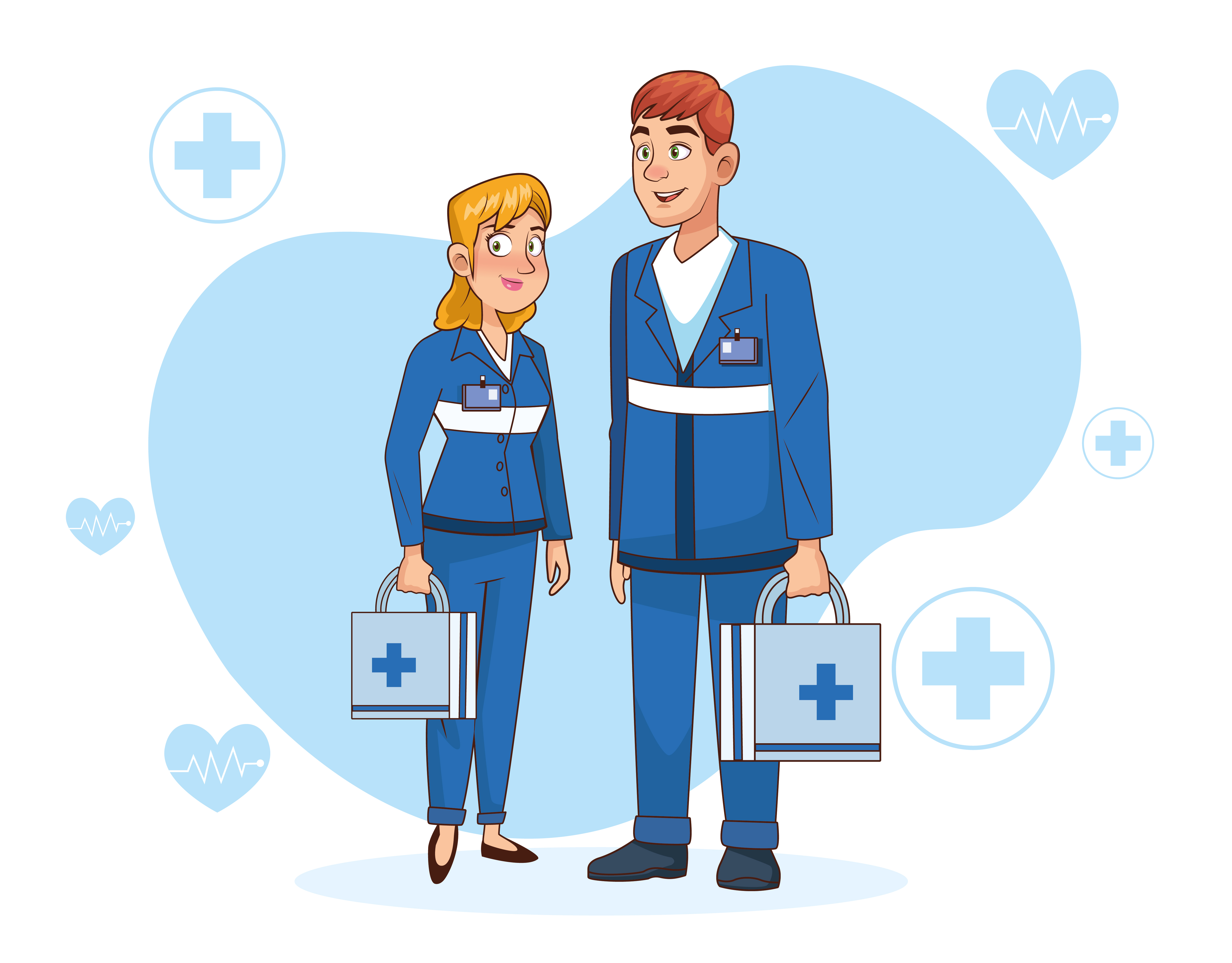 Professional paramedic couple characters vector