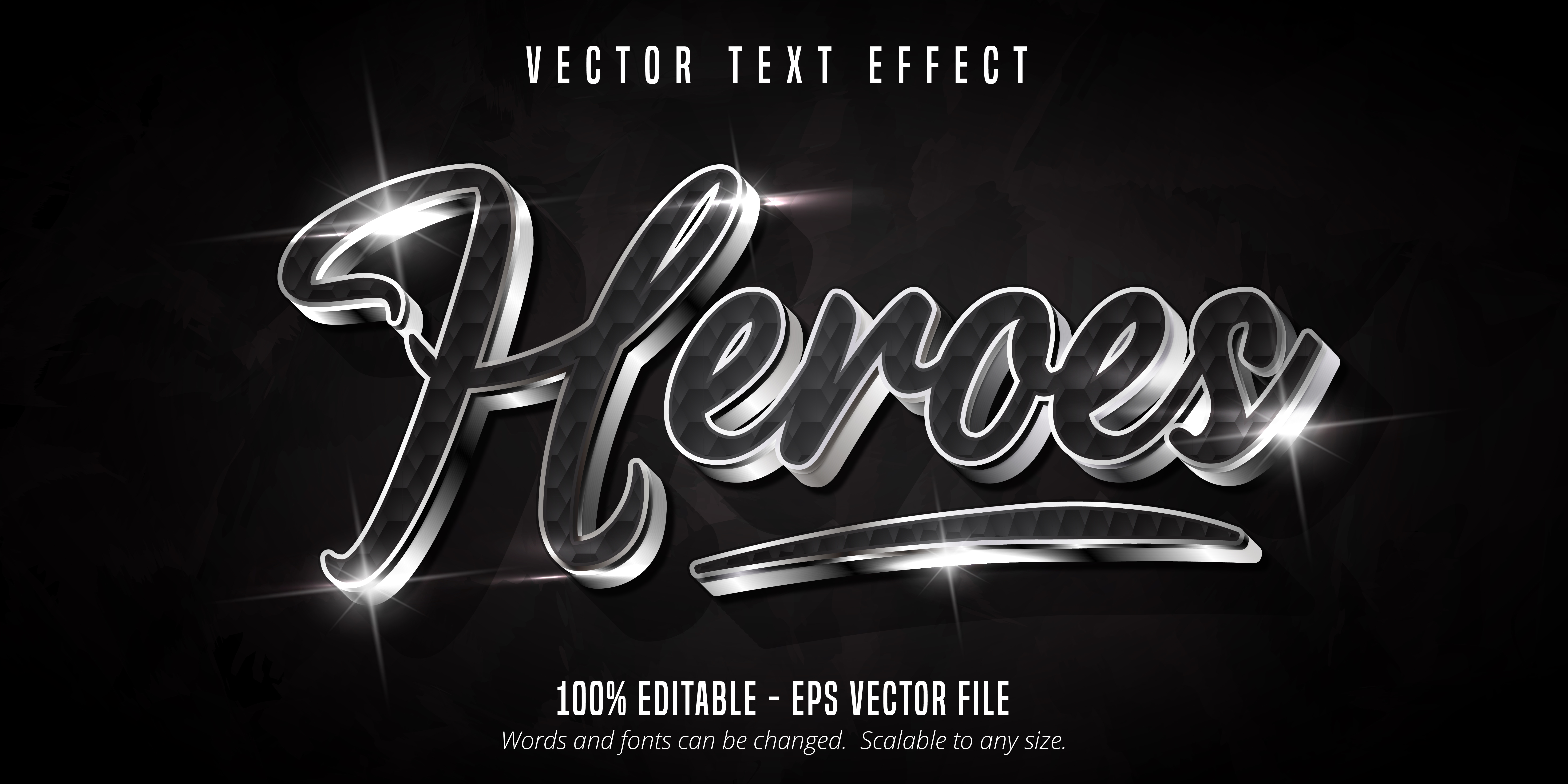 Heroes Text, Shiny Silver Style Text Effect vector