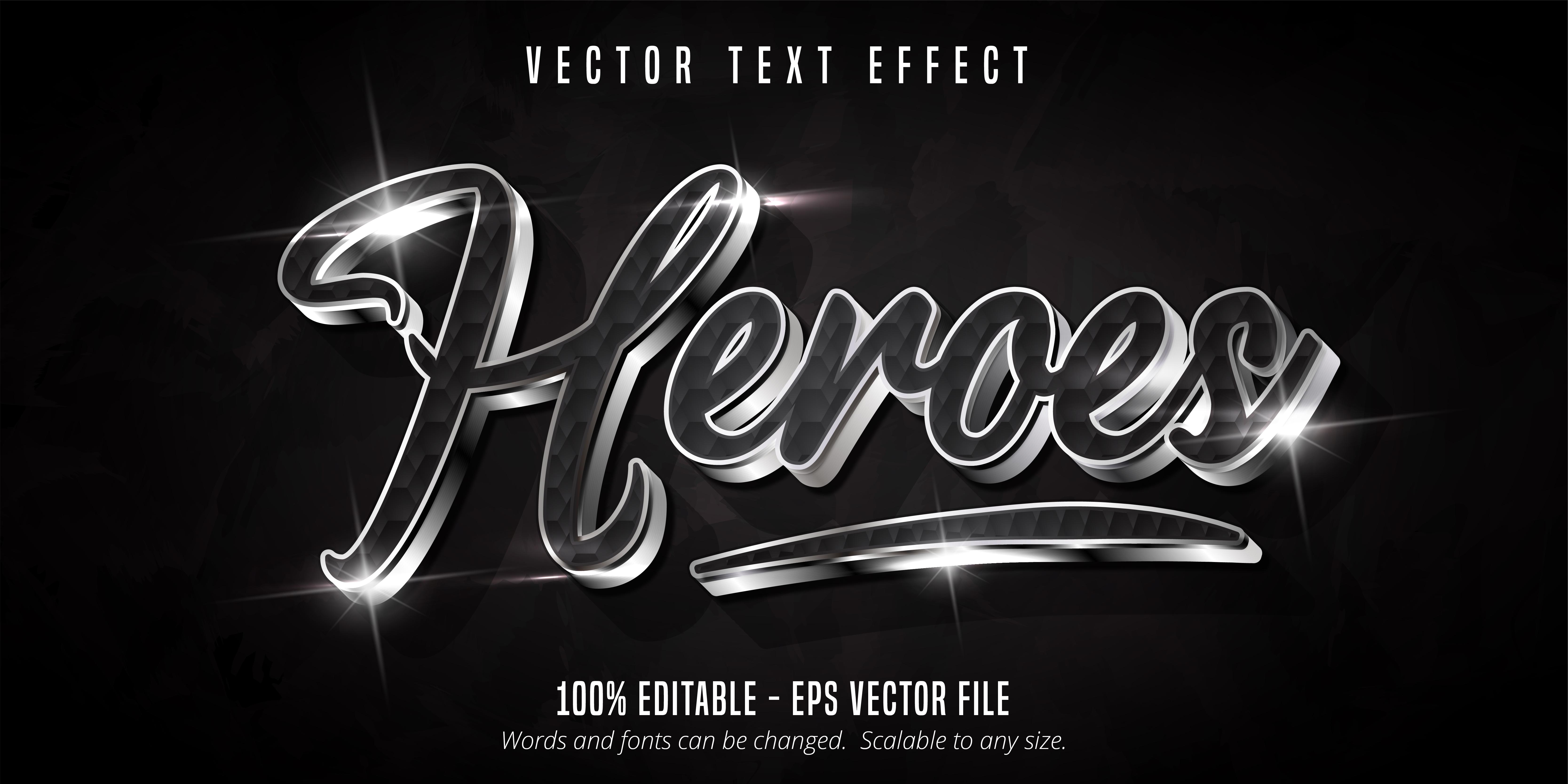 texto de héroes, efecto de texto de estilo plateado brillante