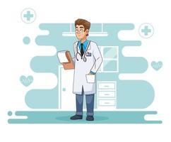 Carácter médico profesional con una lista de verificación. vector
