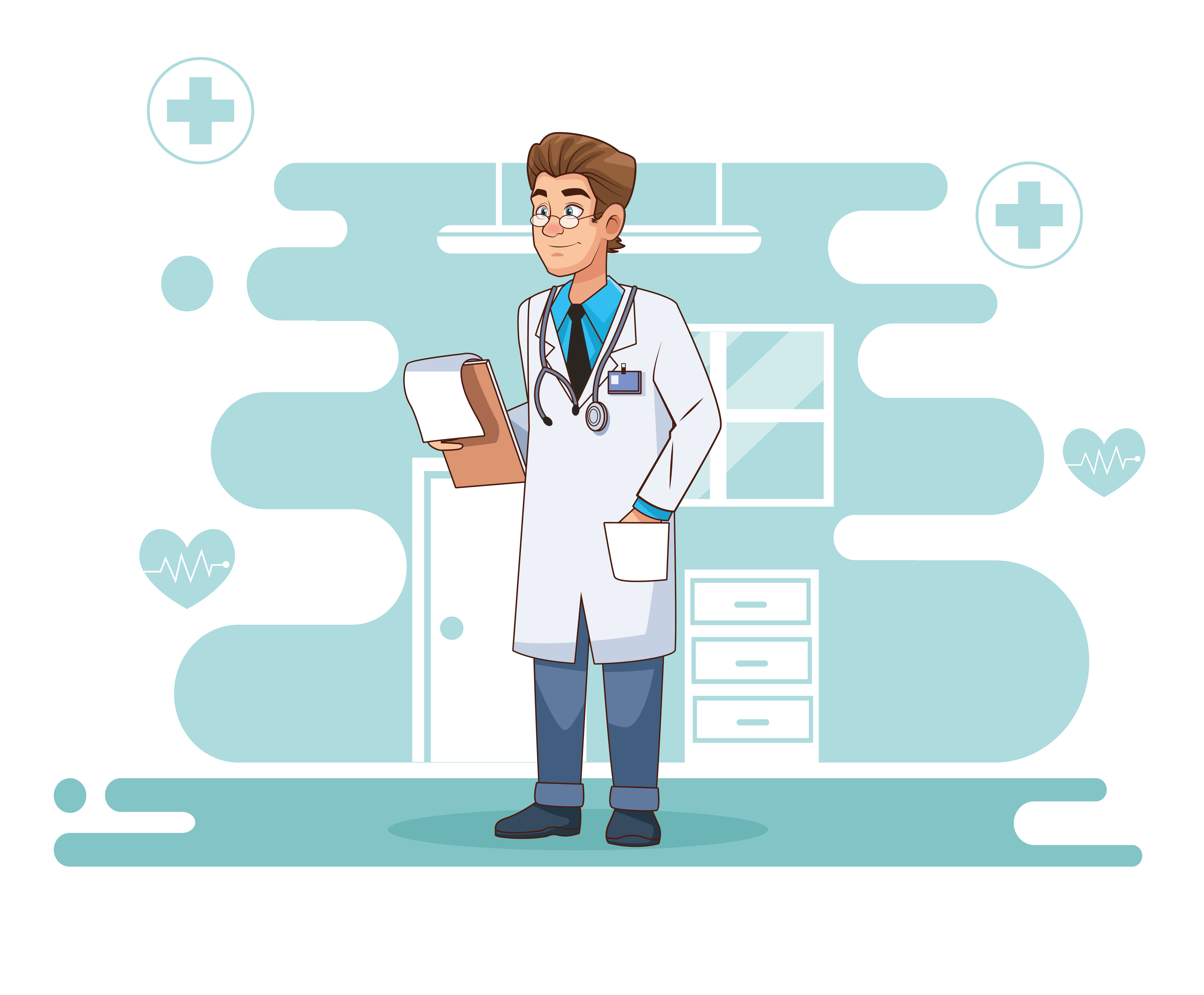 Professional doctor character with a checklist  vector