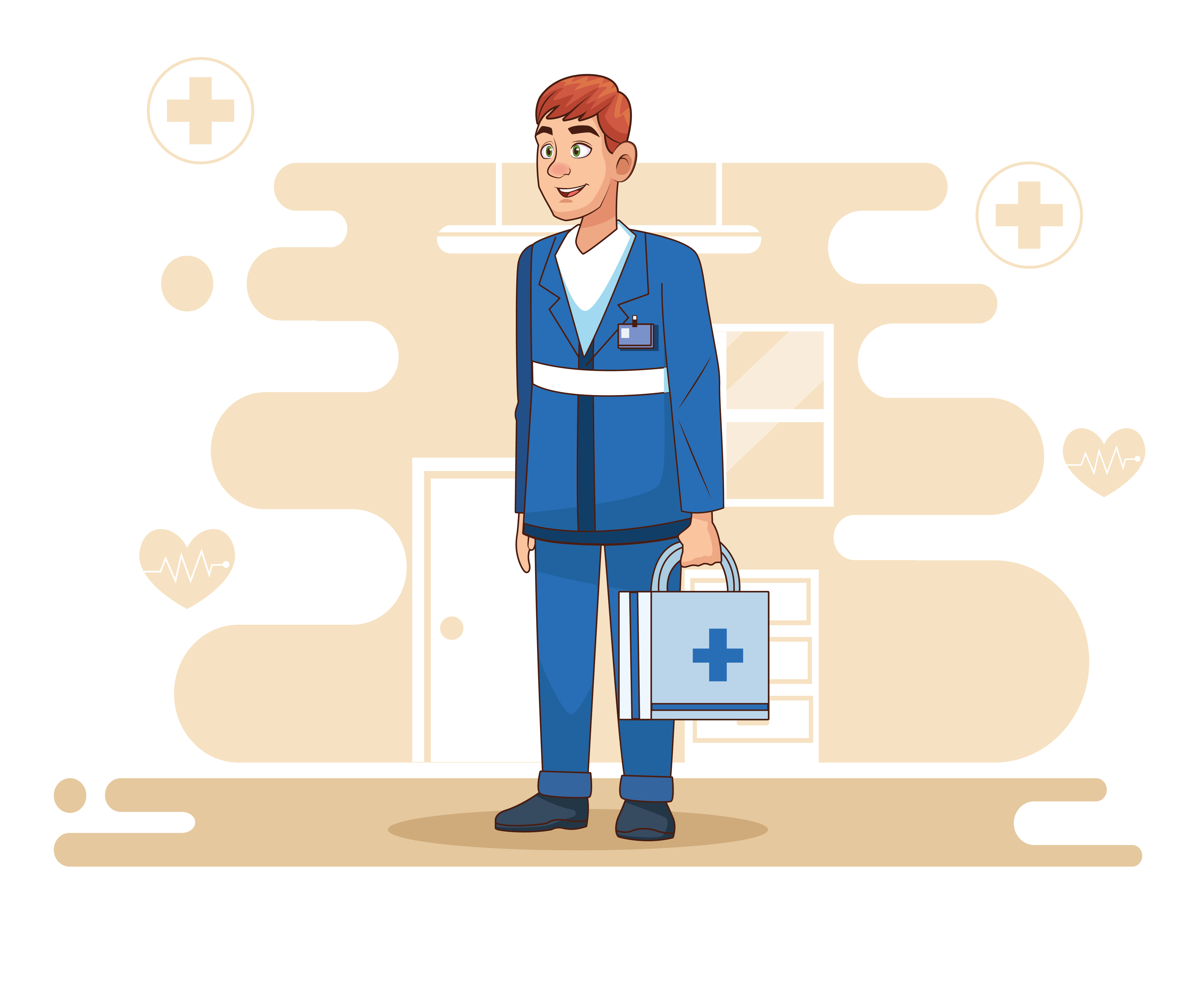 Professional paramedic with medical kit  vector