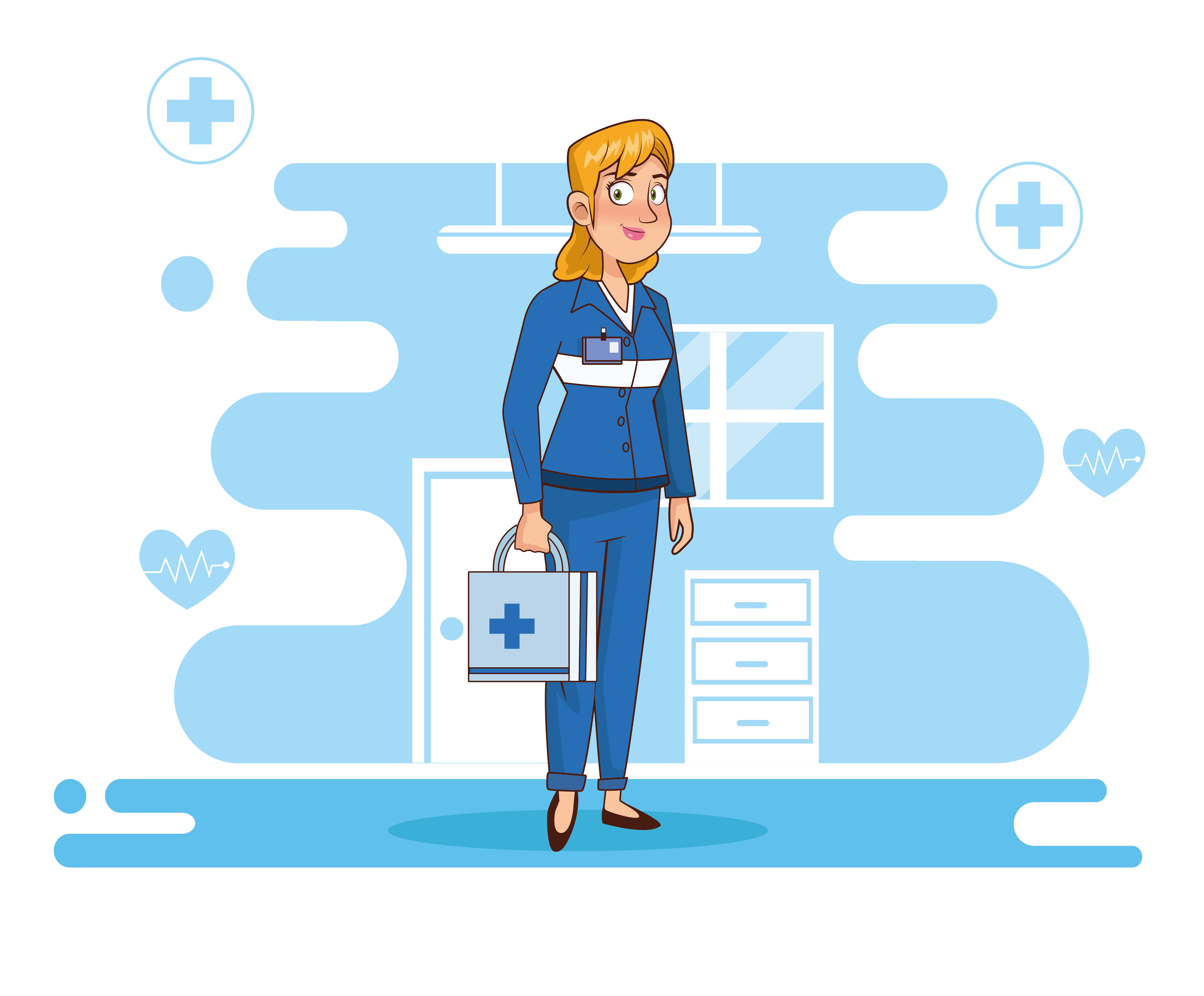Professional female paramedic character vector