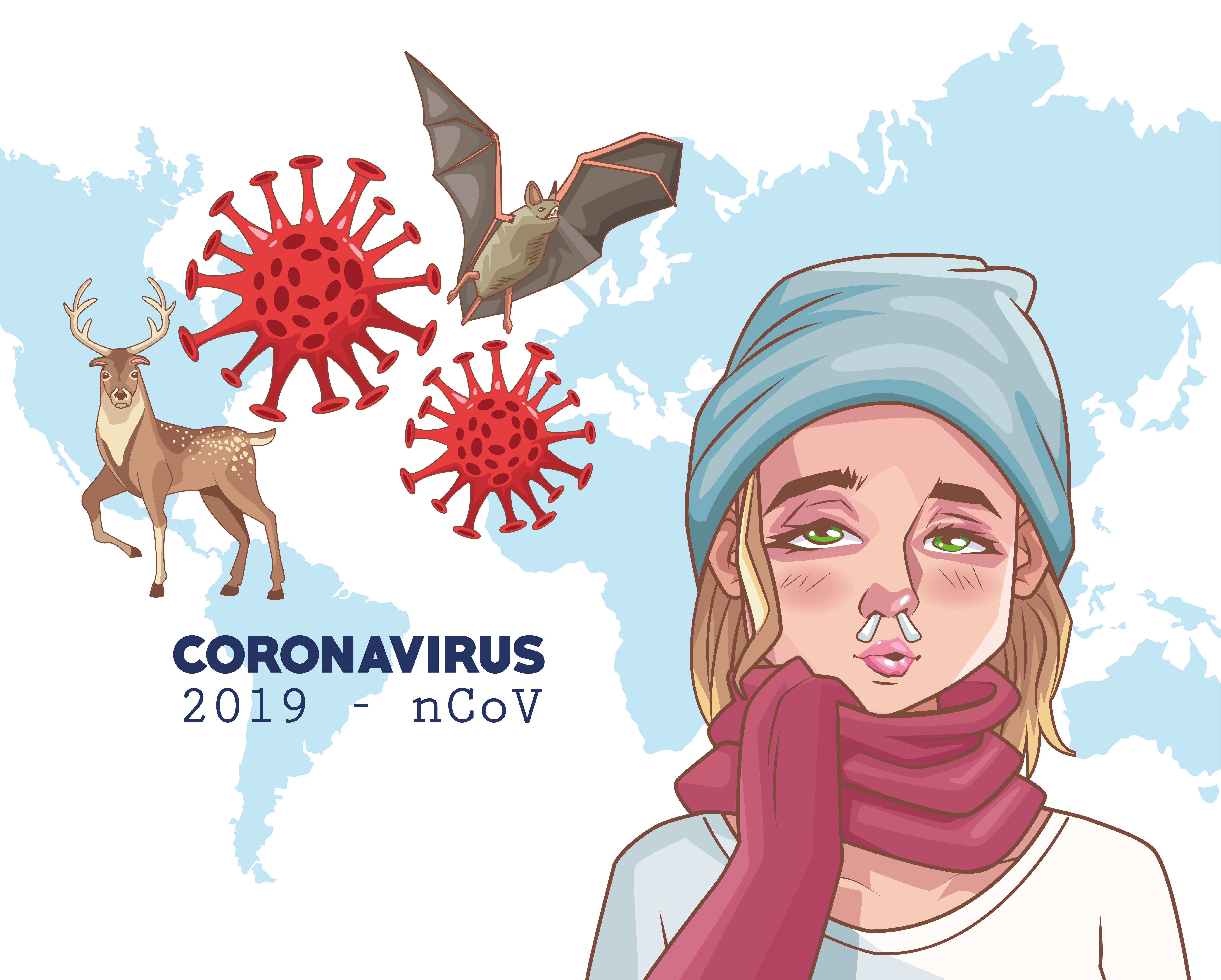 Coronavirus infographic with sick woman and animals vector