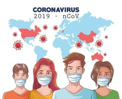 Infografía de coronavirus con personas que usan máscara y mapa mundial. vector