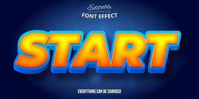 texto de inicio, efecto de fuente editable 3d vector