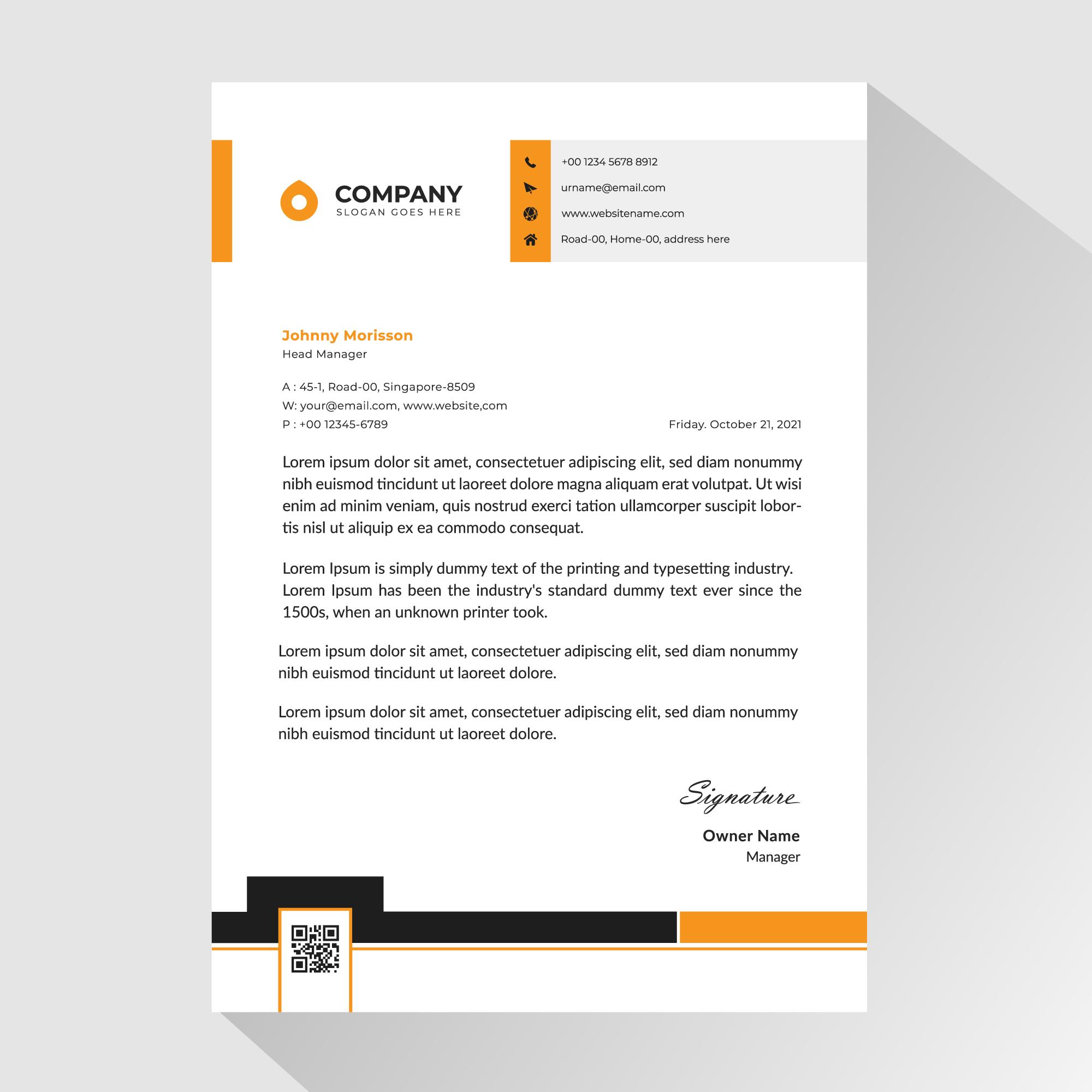 membrete comercial con detalles en naranja y negro