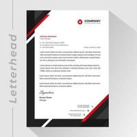 Letterhead template with black and red corner shapes vector
