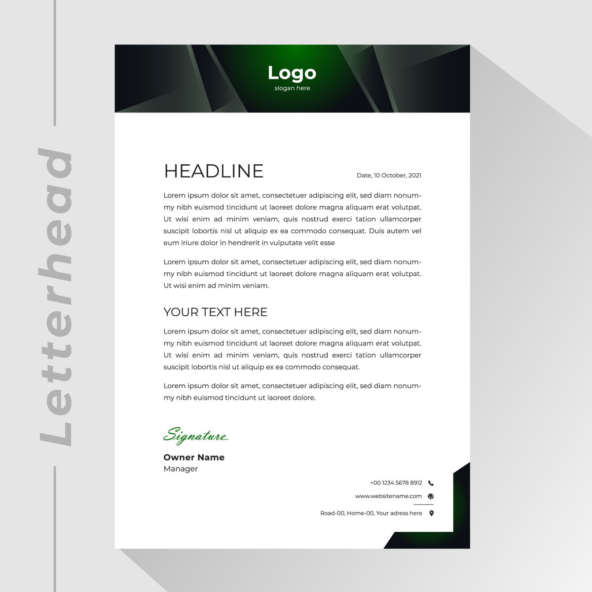 membrete comercial con encabezado en forma de ángulo gris verde