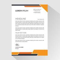 Business letterhead with angled orange and black borders vector