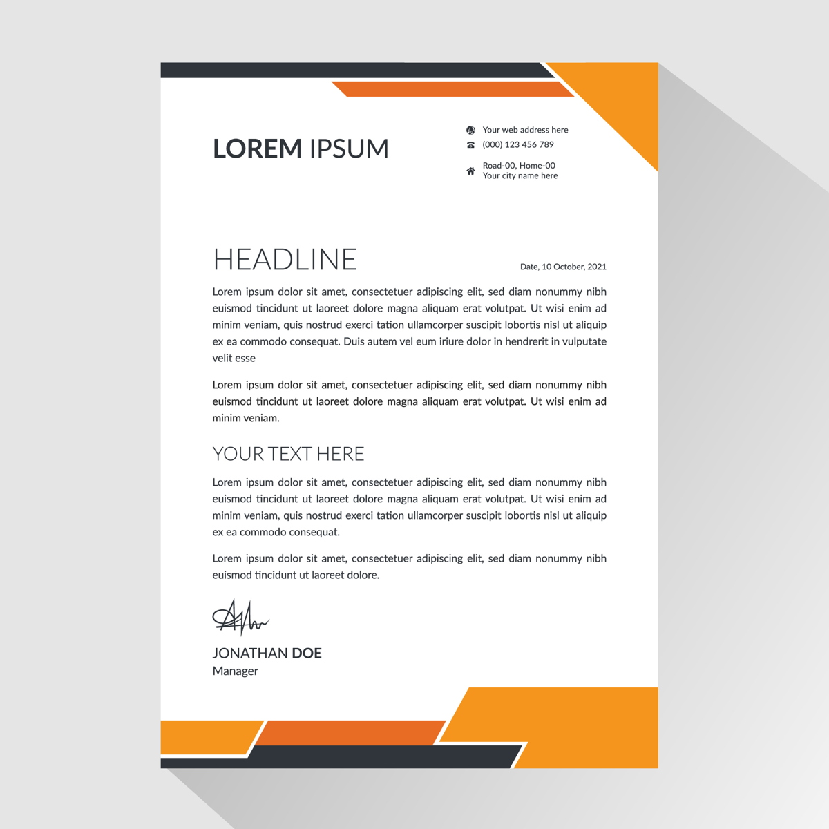 Business letterhead with angled orange and black borders