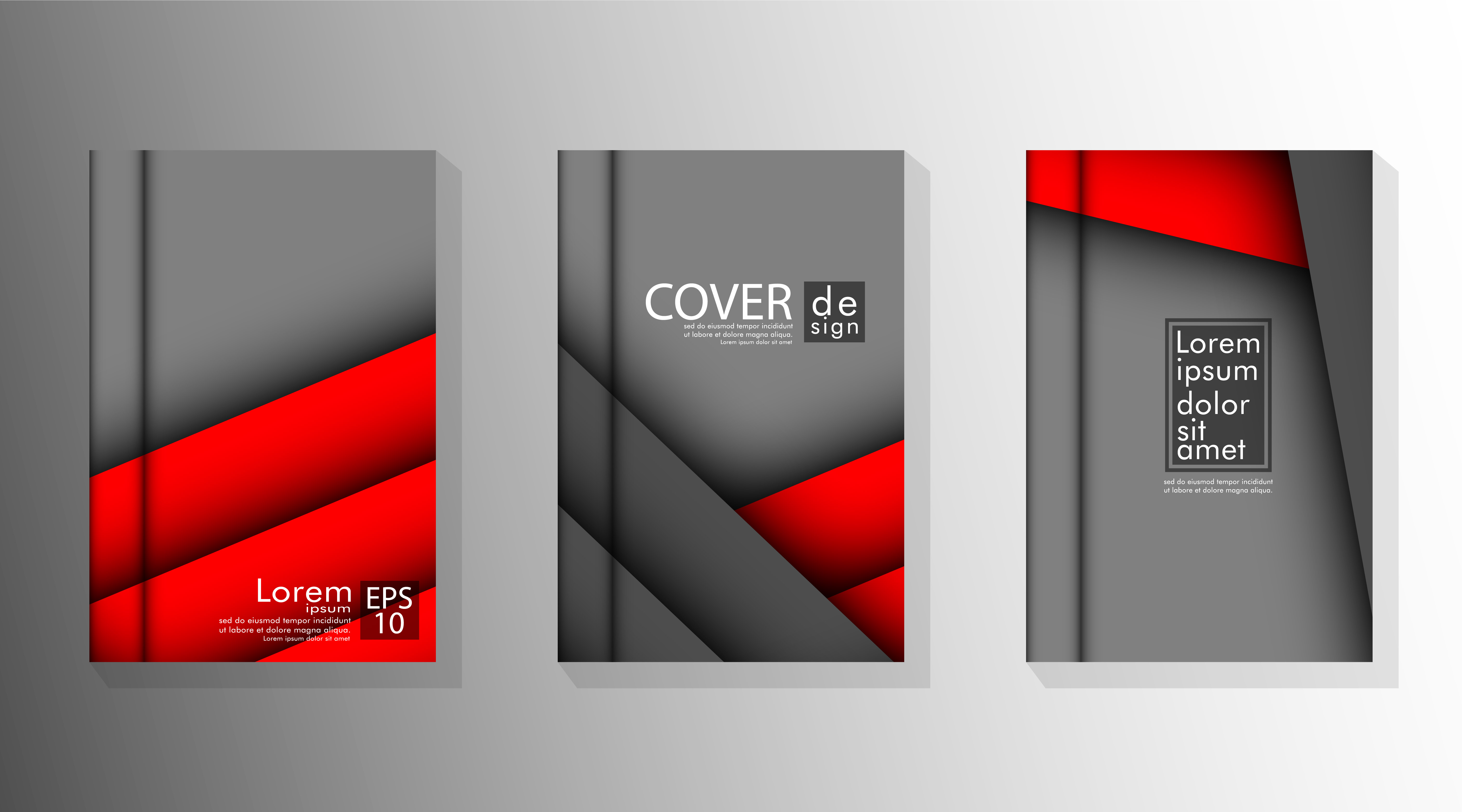 Covers with overlapping angled layers in gray and red