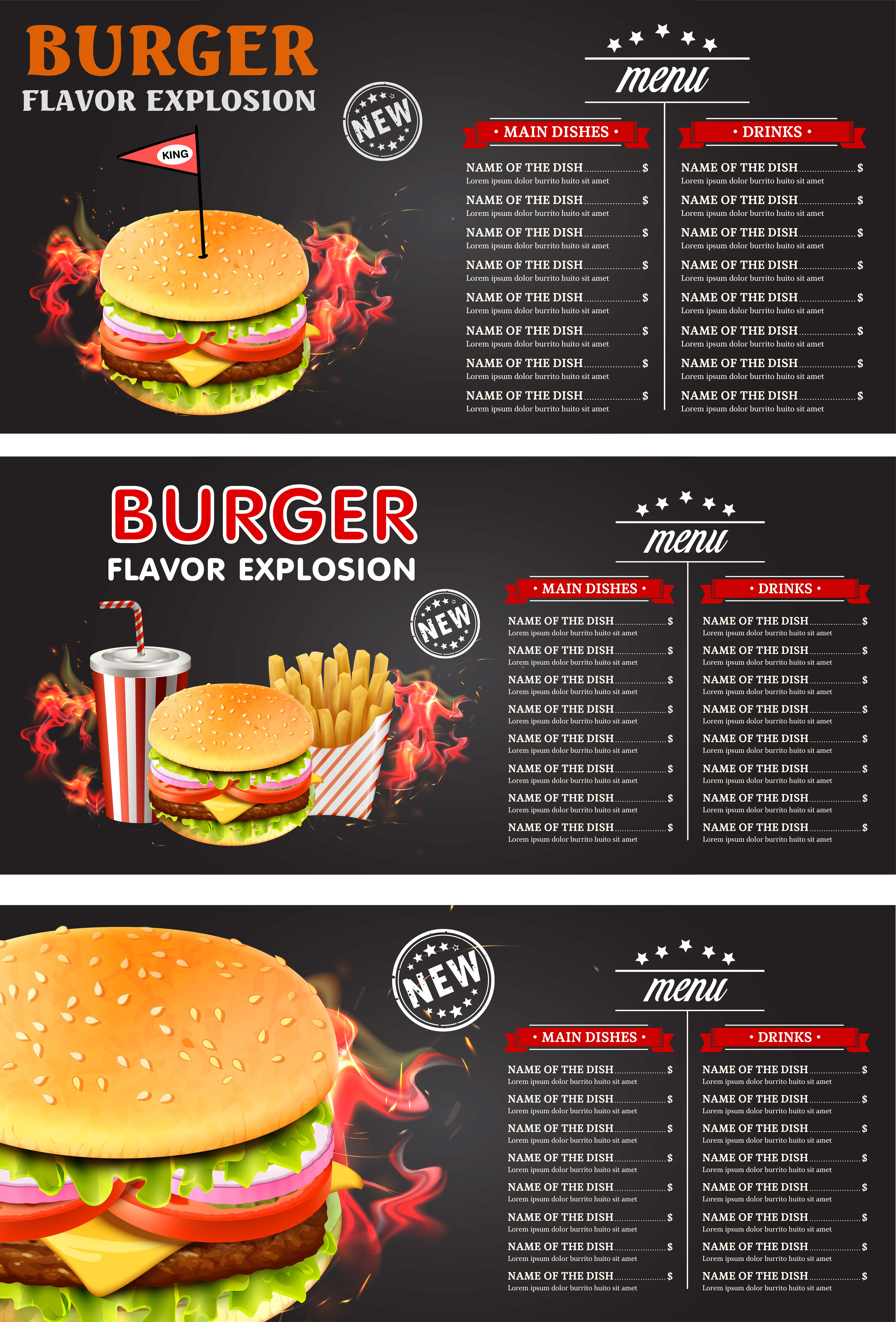 Vintage chalk drawing fast food menu vector