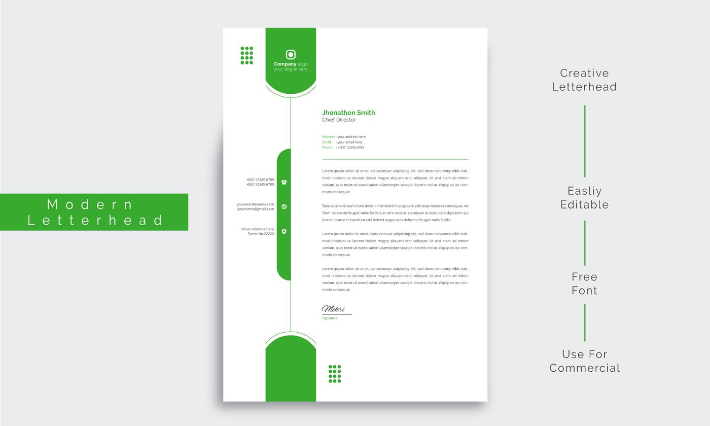 membrete empresarial limpio con formas redondeadas de color verde