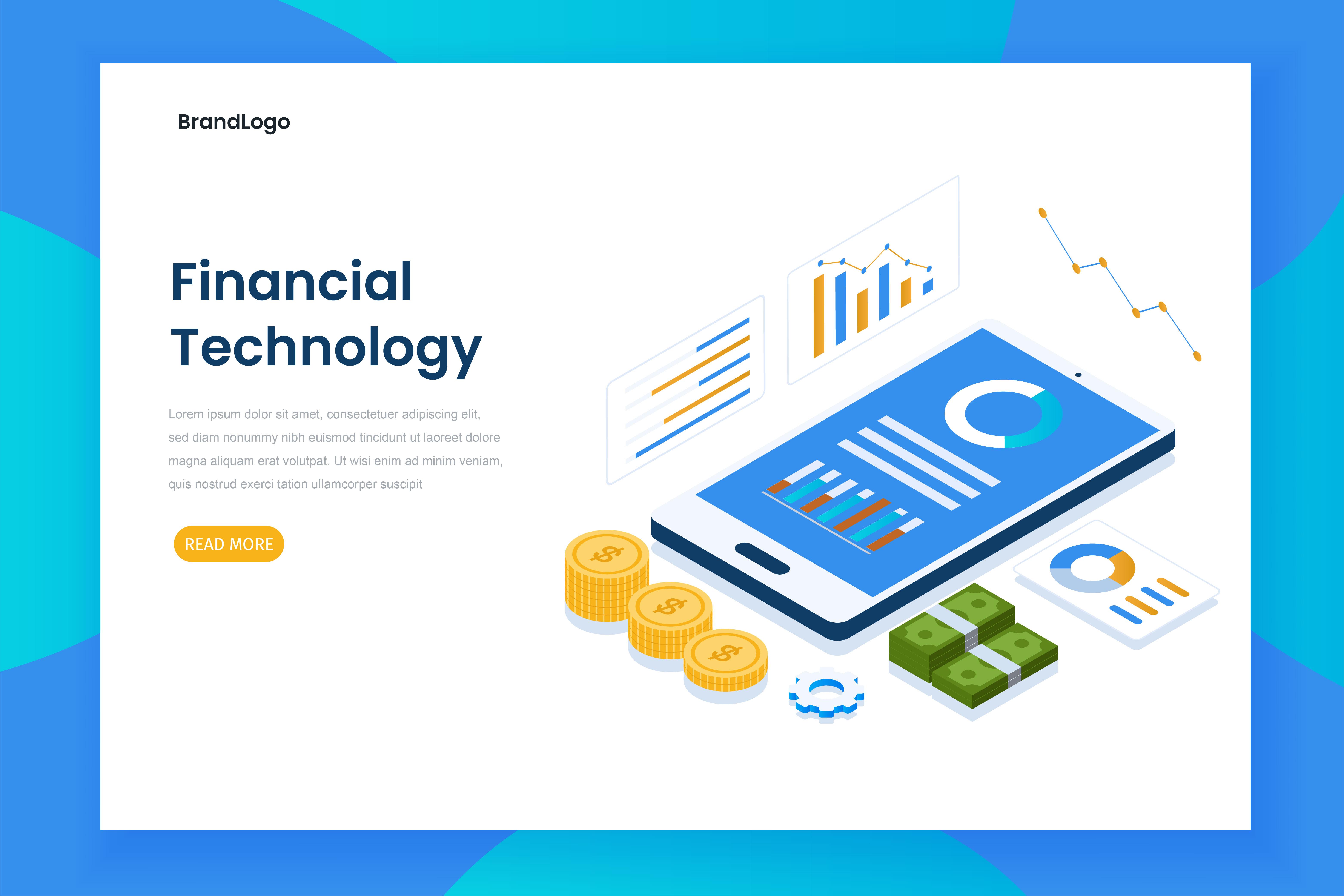 página de inicio de tecnología financiera isométrica con teléfono inteligente