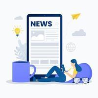 Reading online news concept vector