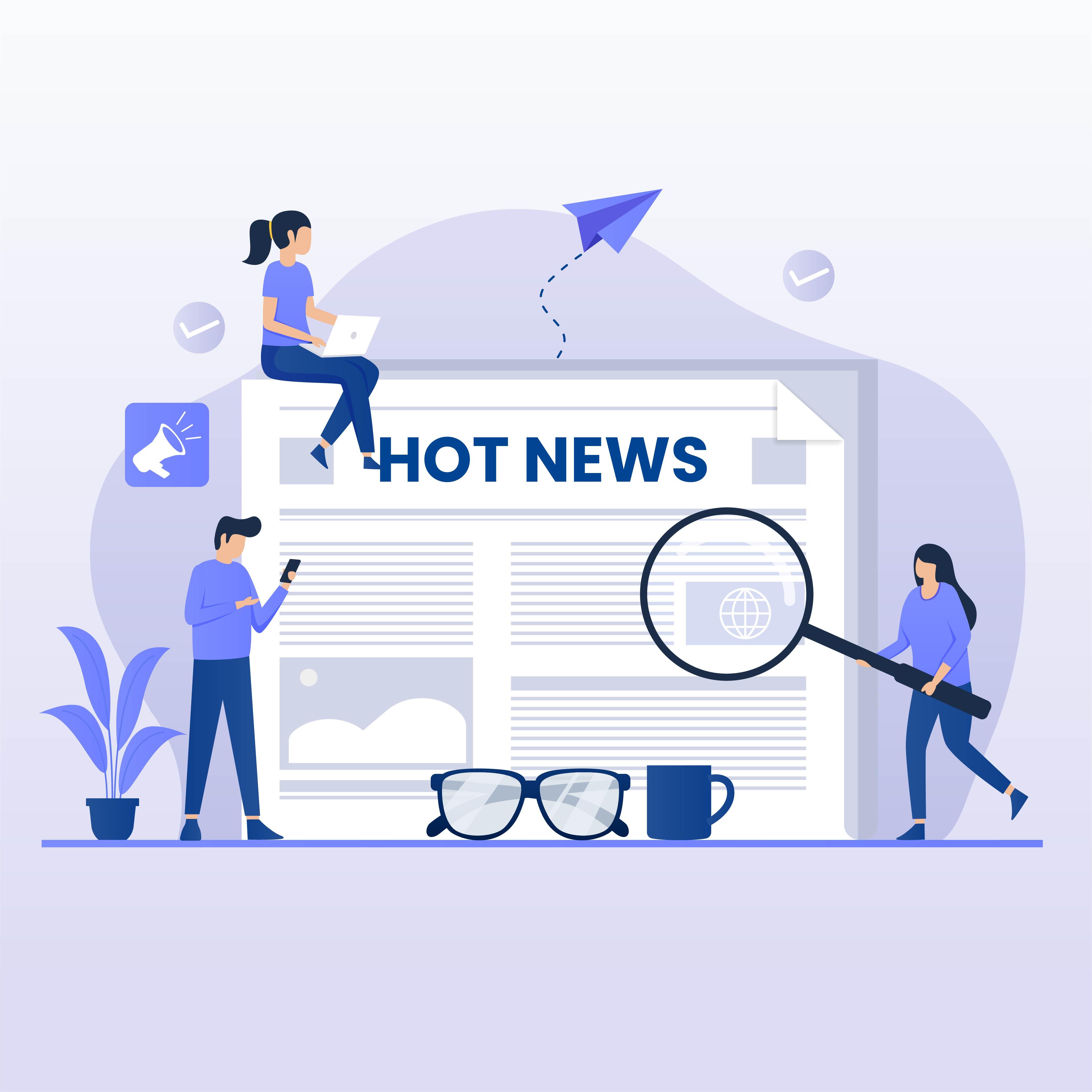 Reading hot news flat design concept  vector