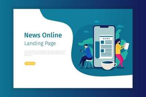 News online landing page template vector