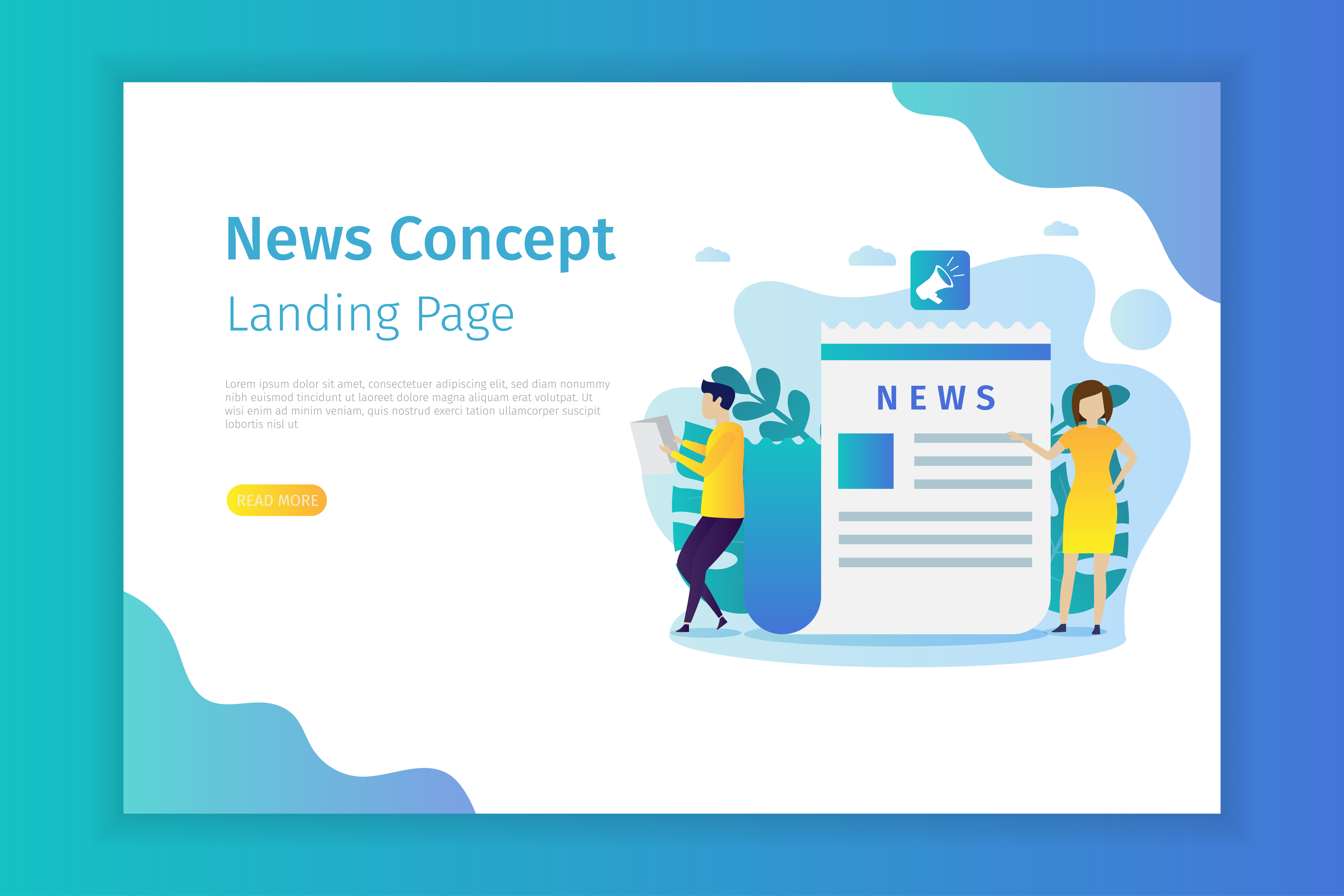 News landing page template vector