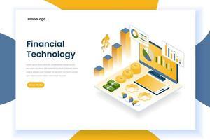 Página de inicio de tecnología financiera con gráficos y monitor. vector