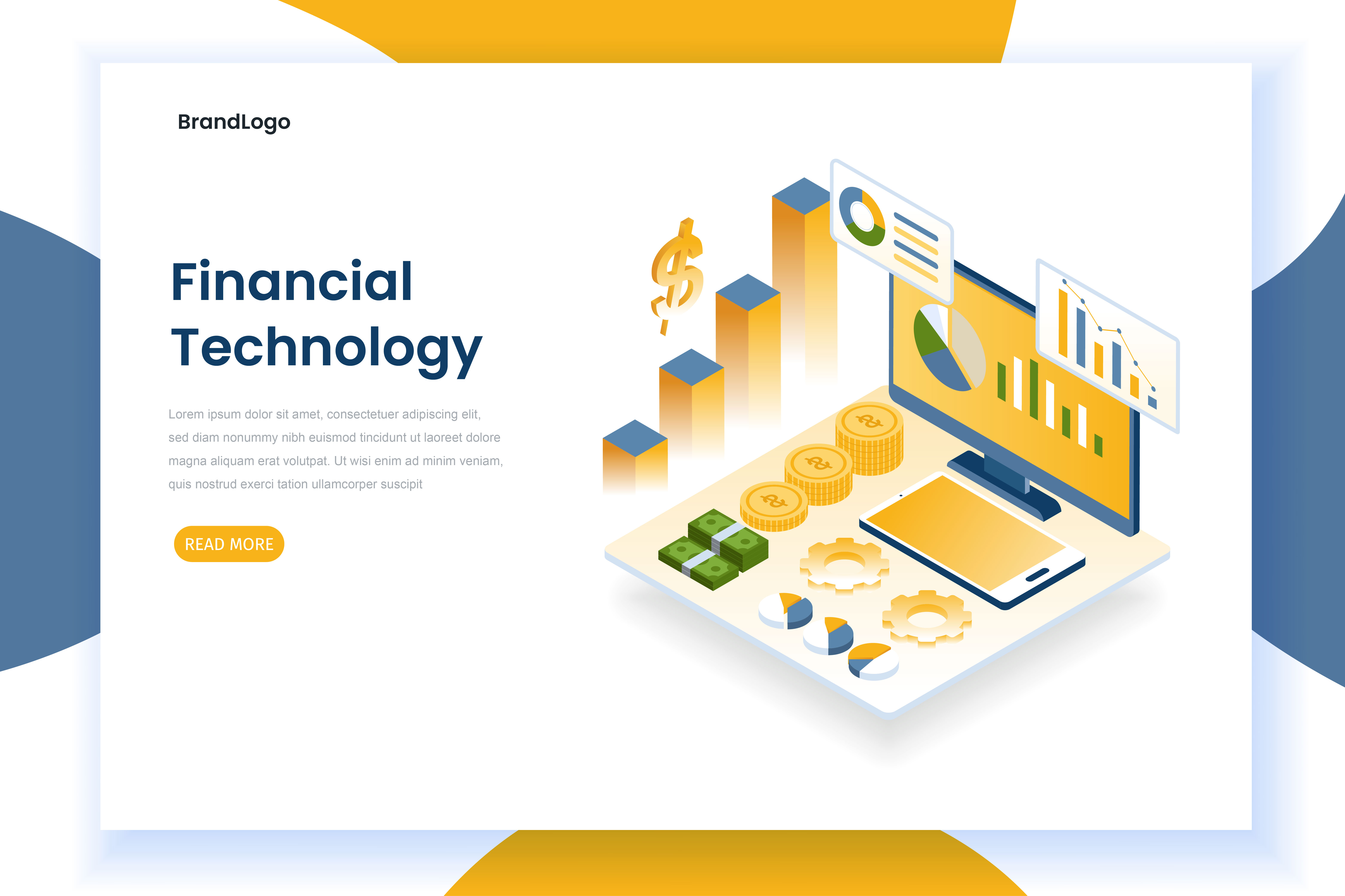 Financial technology landing page with charts and monitor