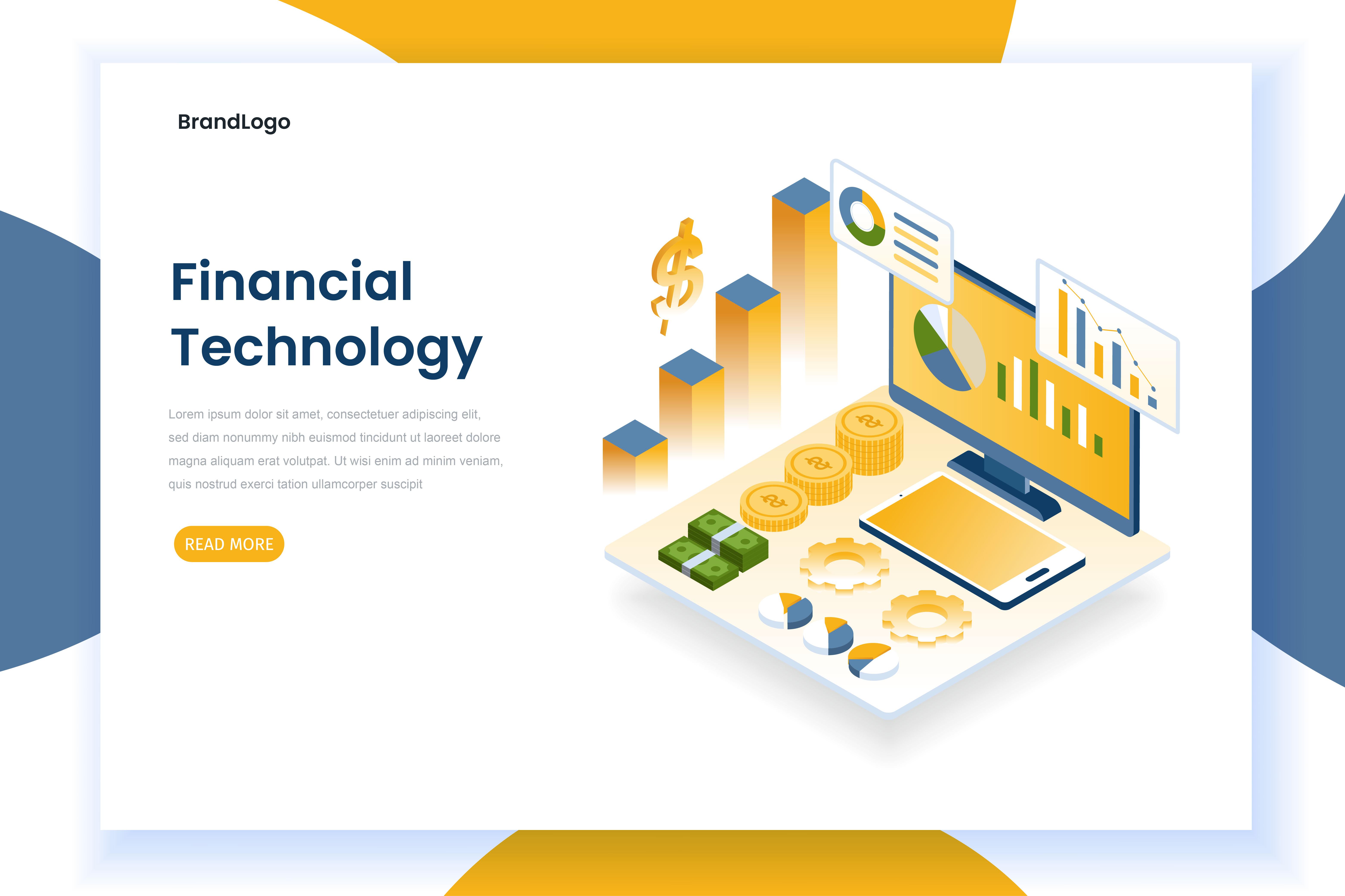 Página de inicio de tecnología financiera con gráficos y monitor.