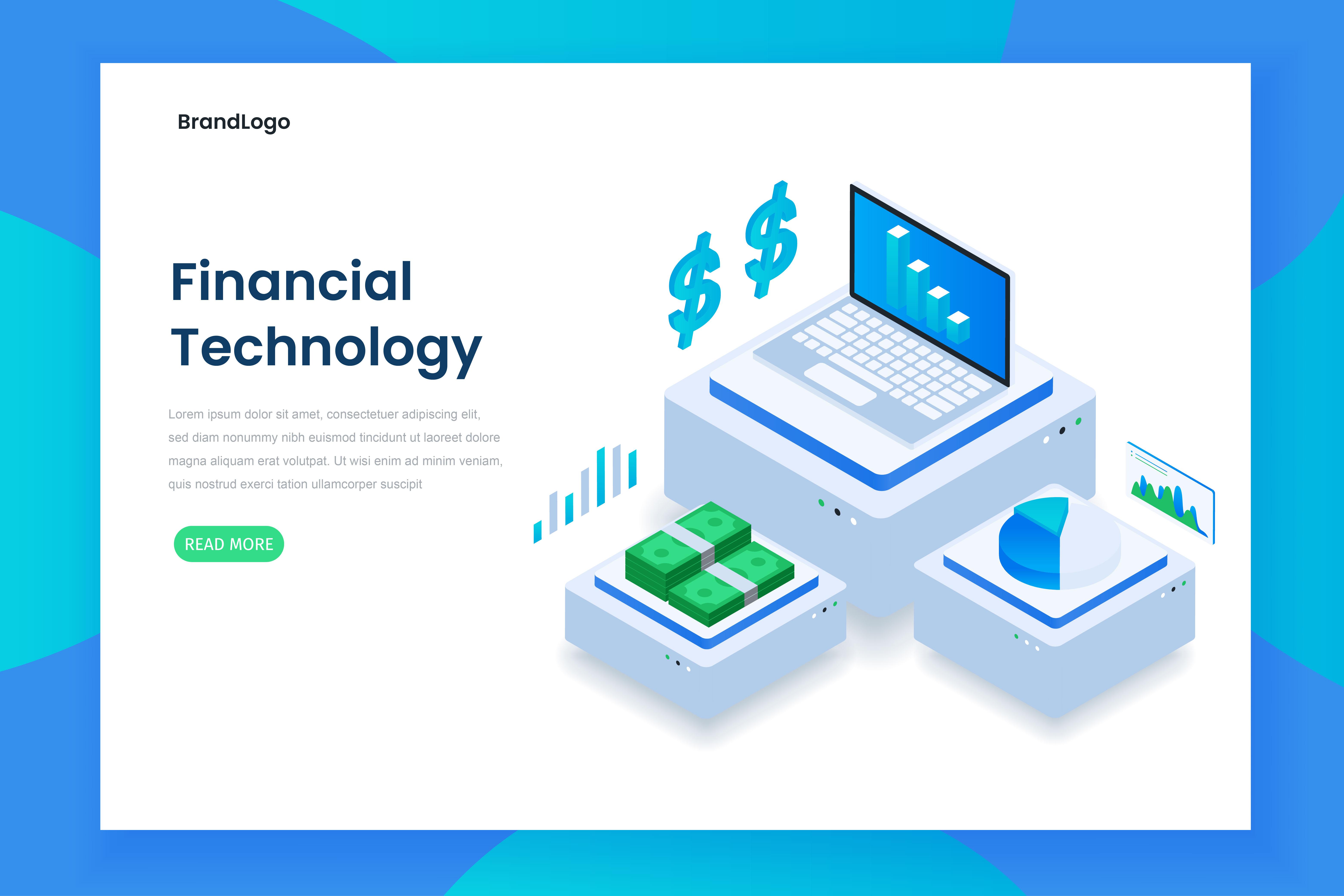 concepto de tecnología financiera isométrica de color plano