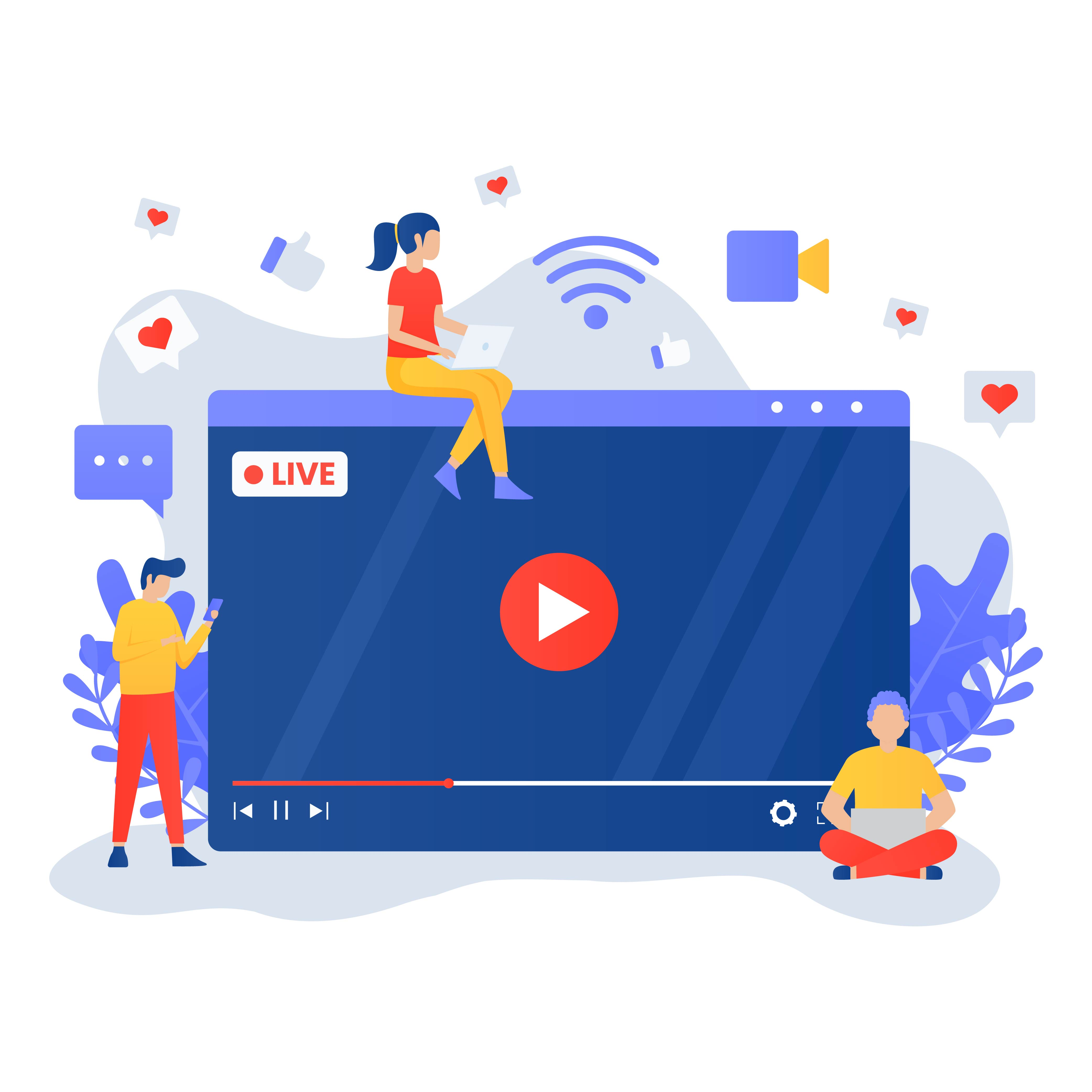 Live streaming flat design with people around screen vector