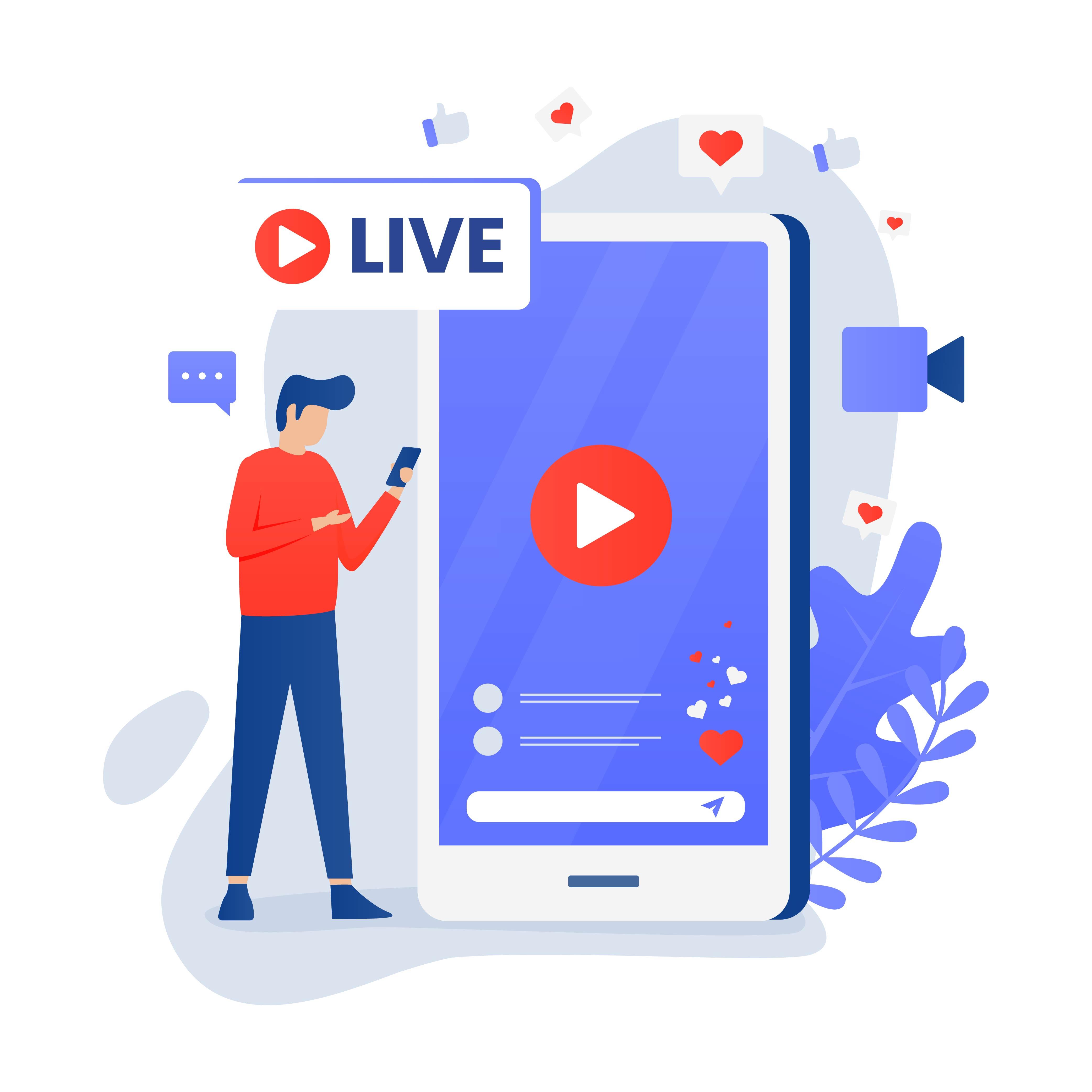 conceito de transmissão ao vivo de mídia social com personagem