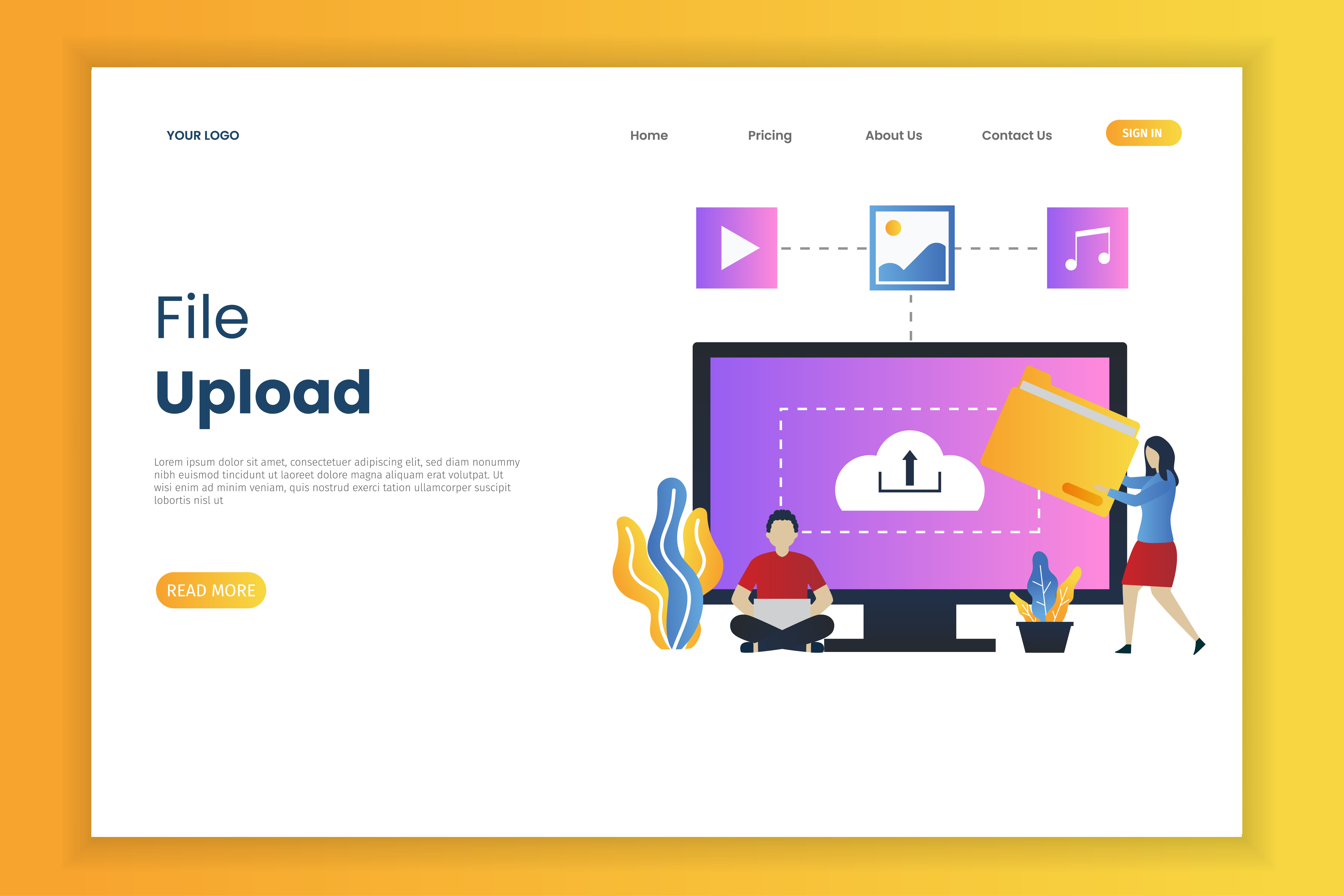 File upload landing page template with tiny people vector