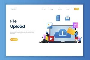 File upload landing page concept vector