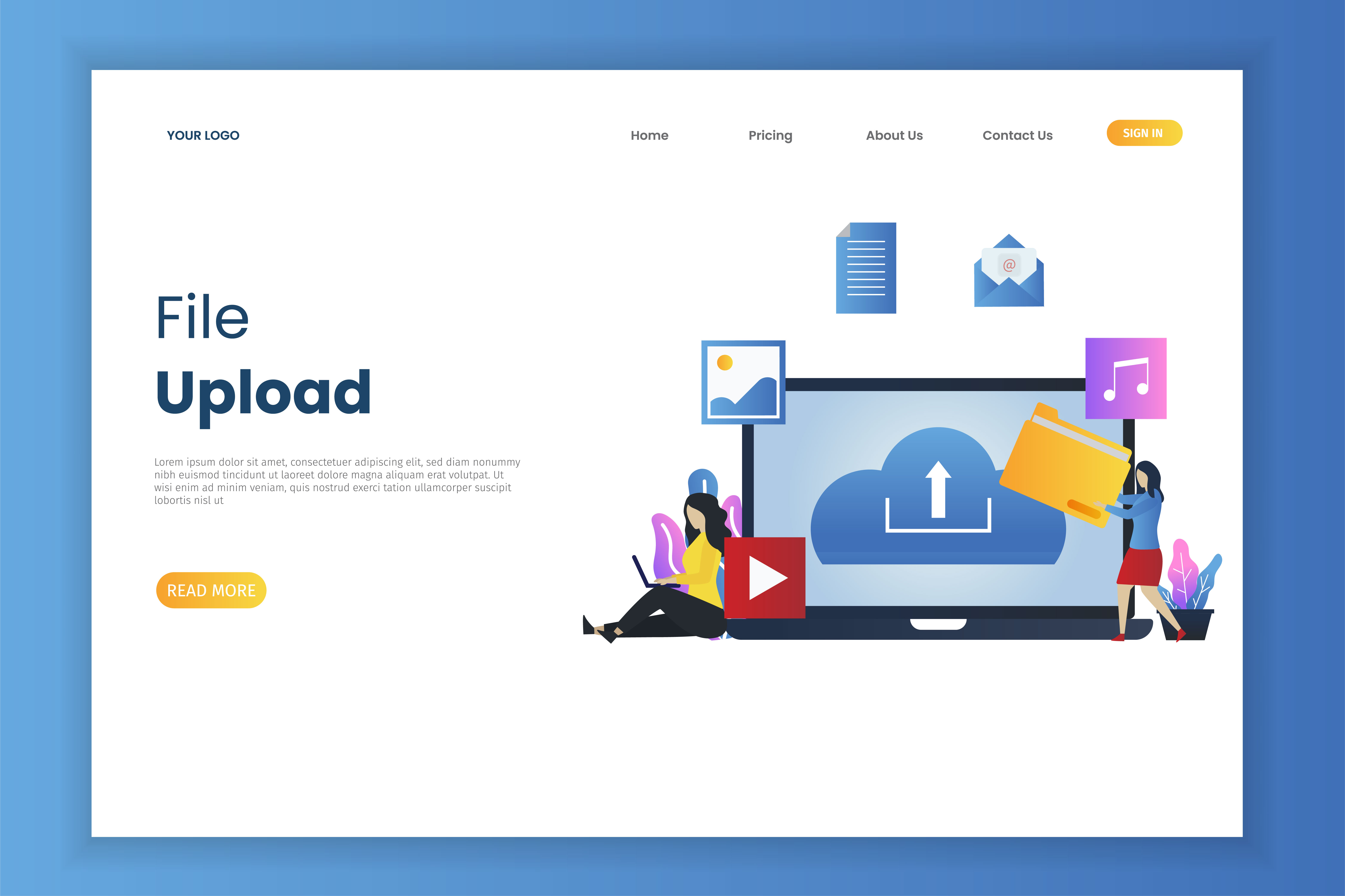 File upload landing page concept vector