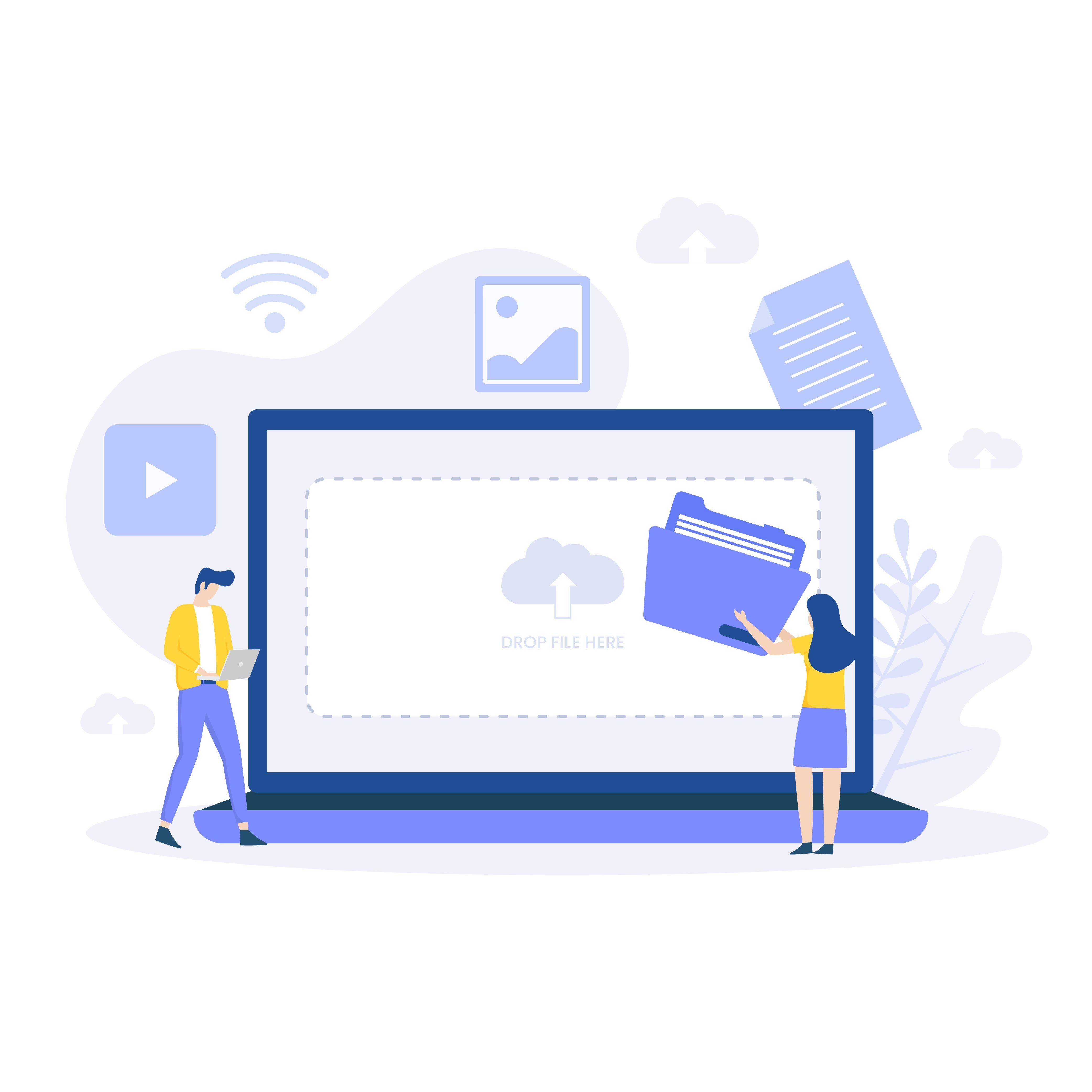 Modern flat file upload design concept vector