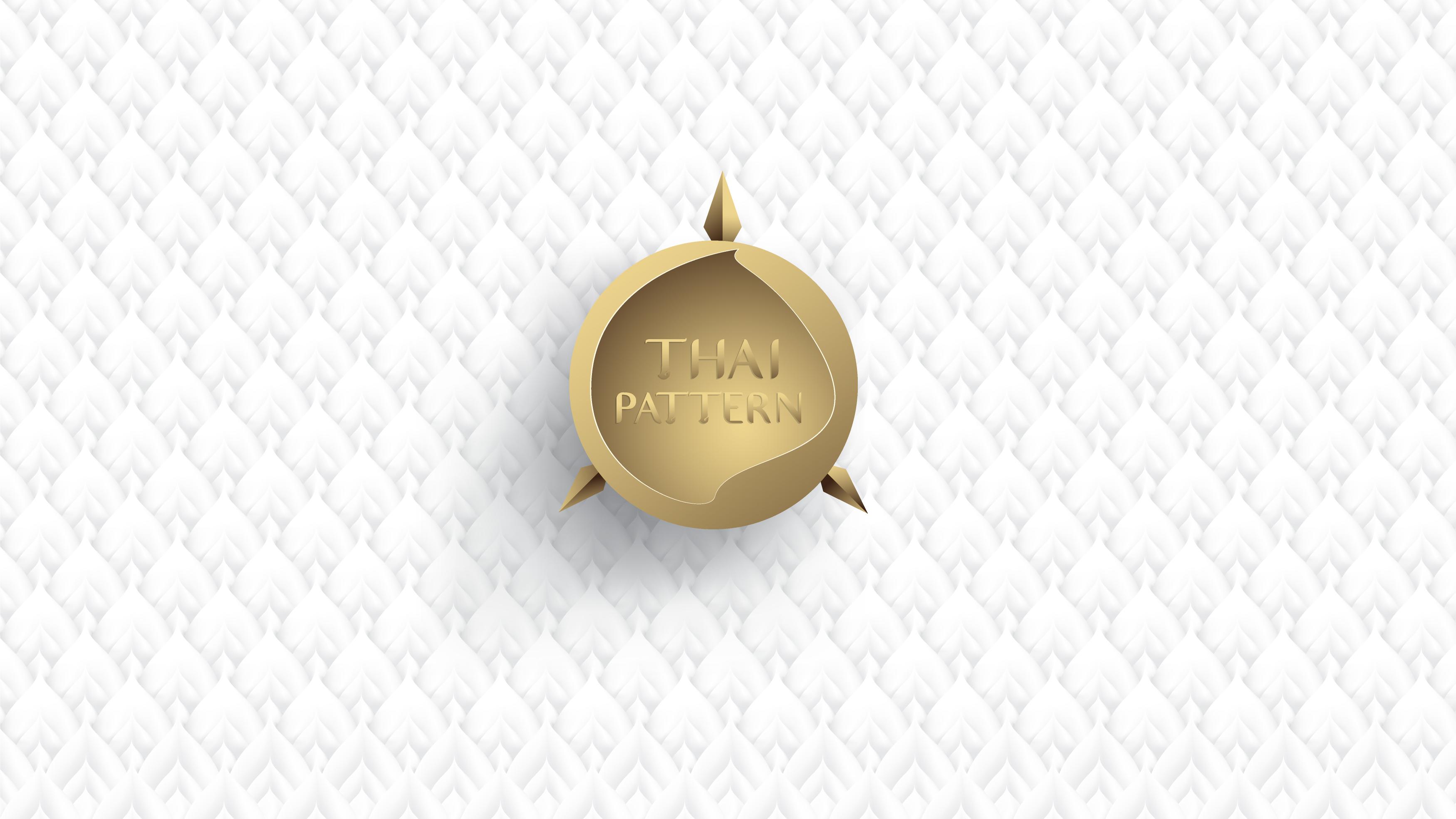 arte tailandés superpuesto hojas blancas con marco de círculo dorado vector