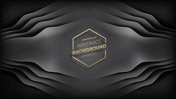 rayas abstractas de cuero negro superpuesto en patrón hexagonal vector