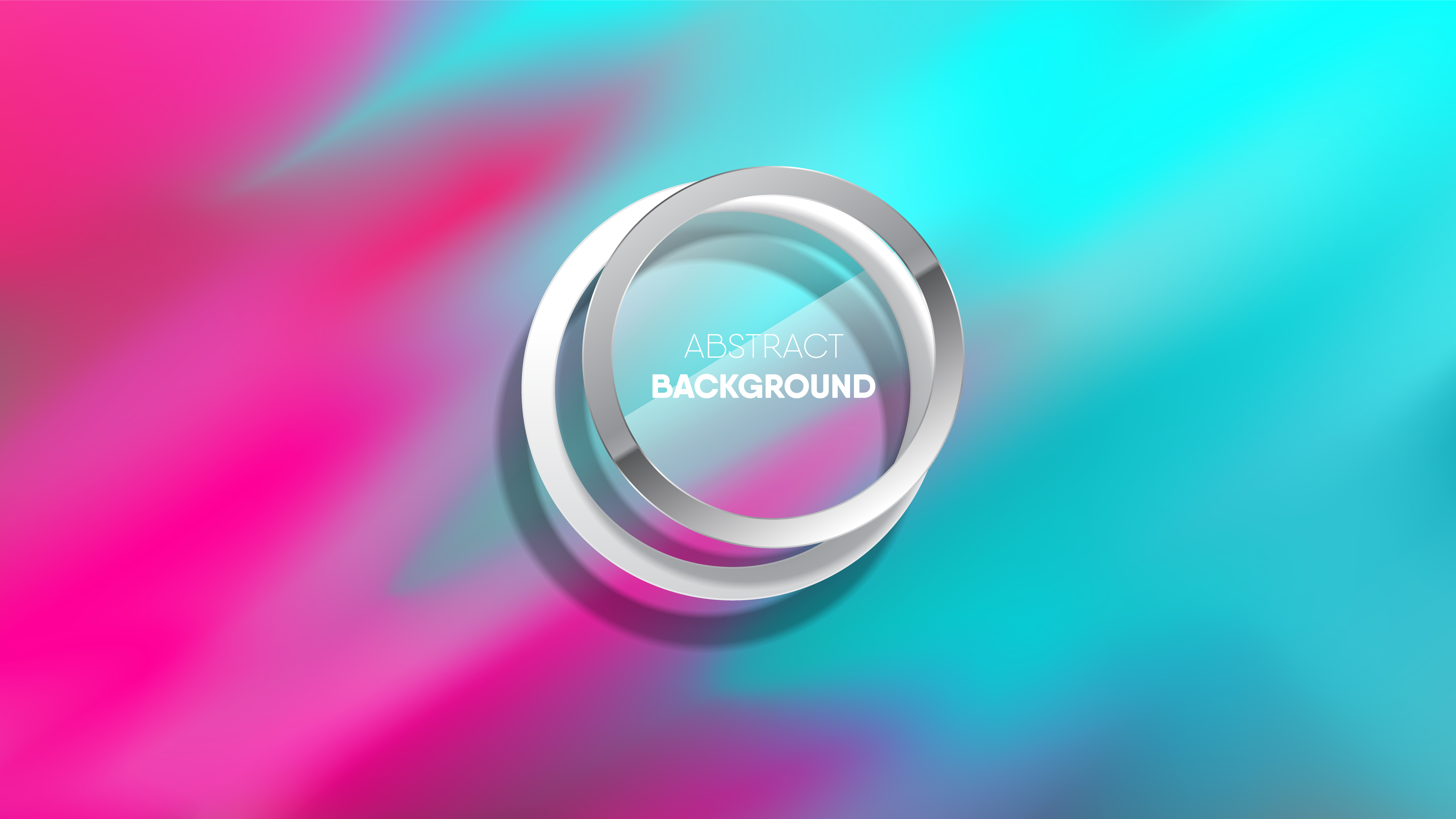 Gradient blue pink water color style design with silver rings vector