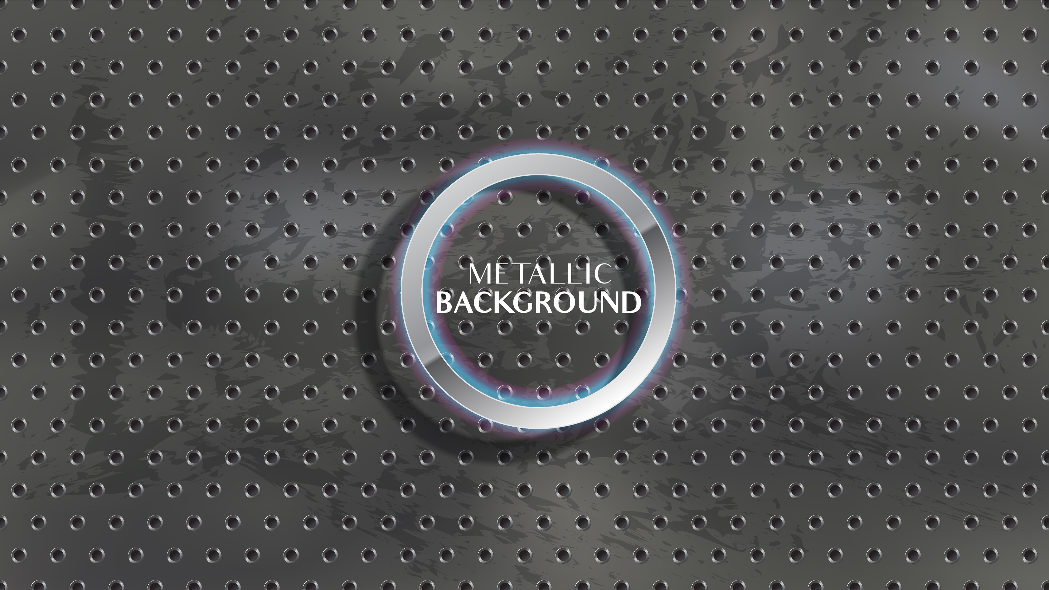 Metallic circle holes on grunge charcoal, chalkboard texture vector