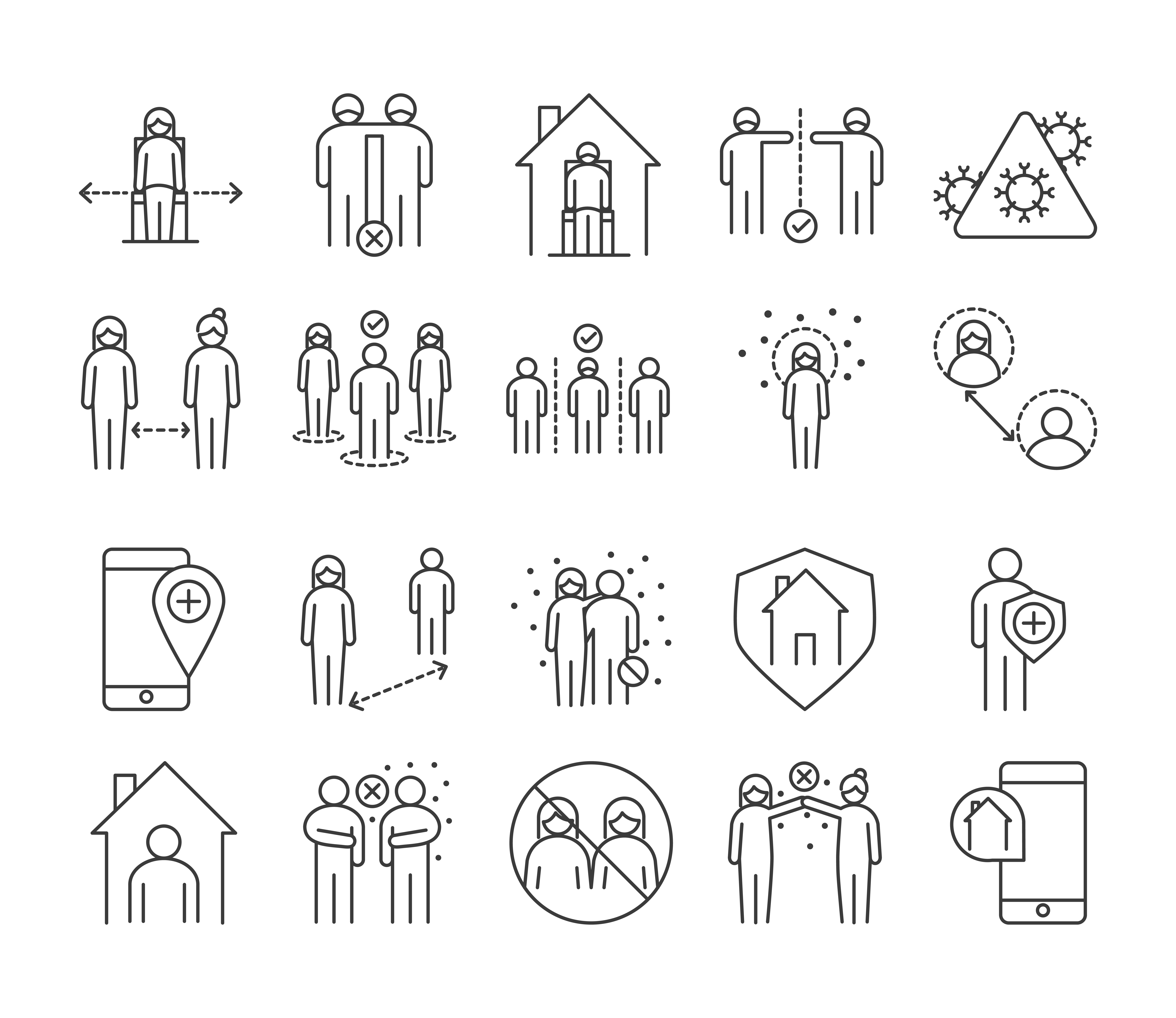 Viral infection and social distance pictogram icon pack